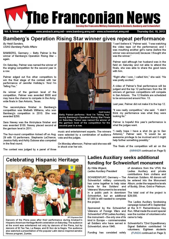 Franconian News Oct. 18, 2012Public Affairs - Issuu