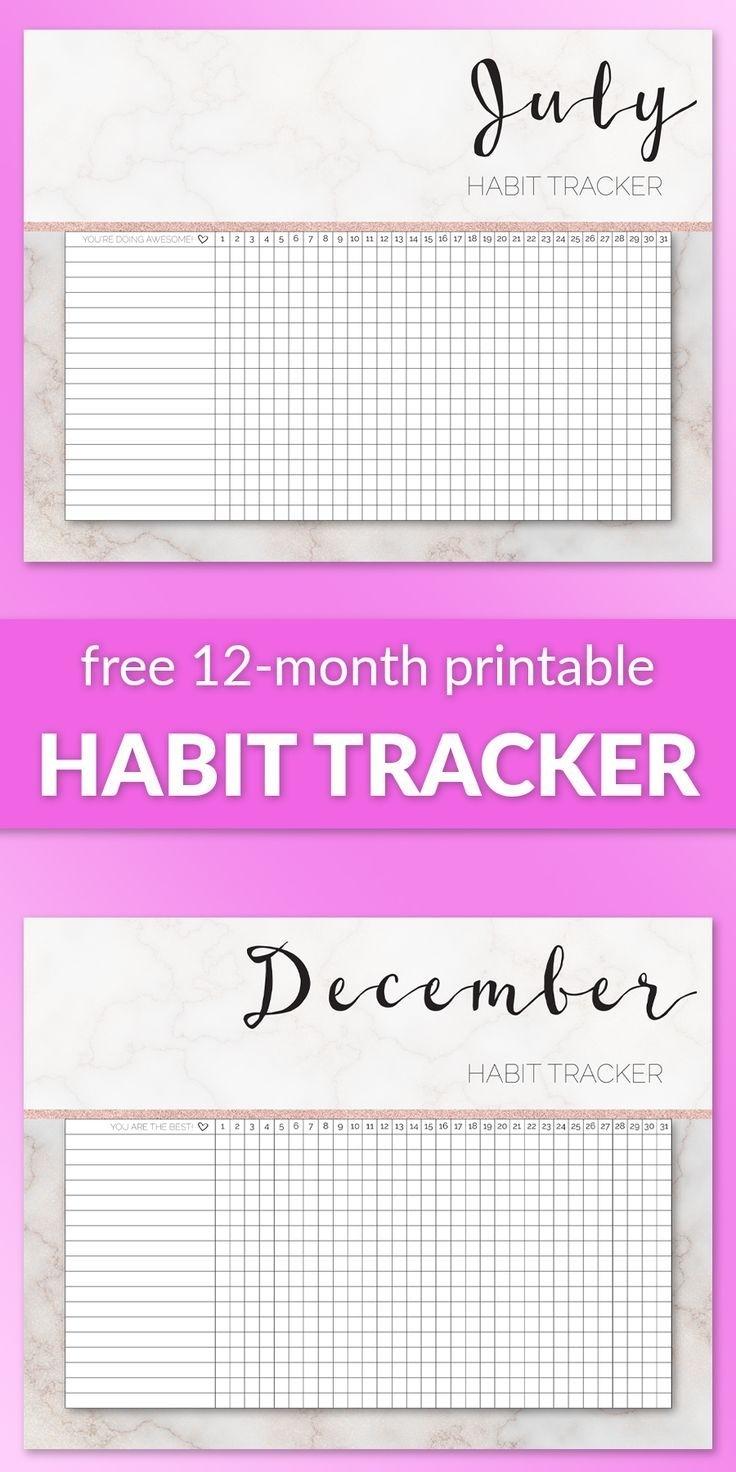 Free 12-Month Printable Habit Tracker | Habit Tracker