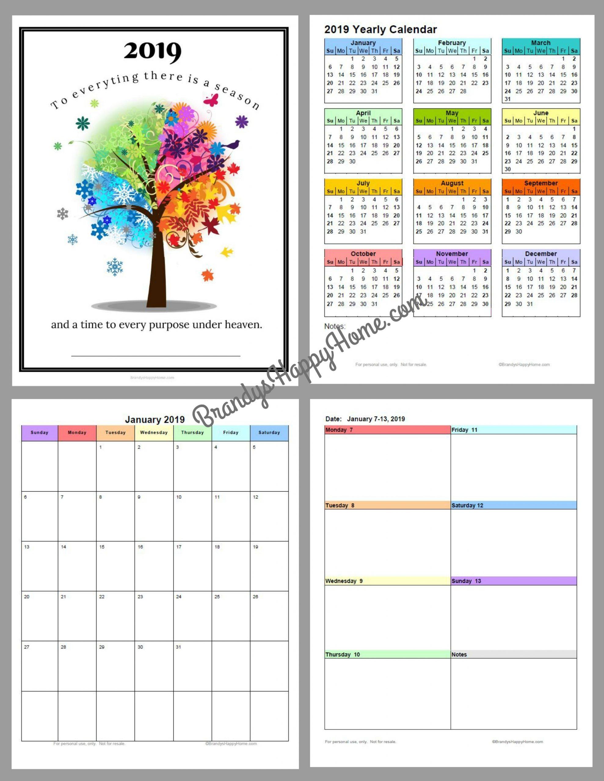 Free 2019 Diy Calendar Planner Printables with regard to Free Printable Pocket Size Calendar