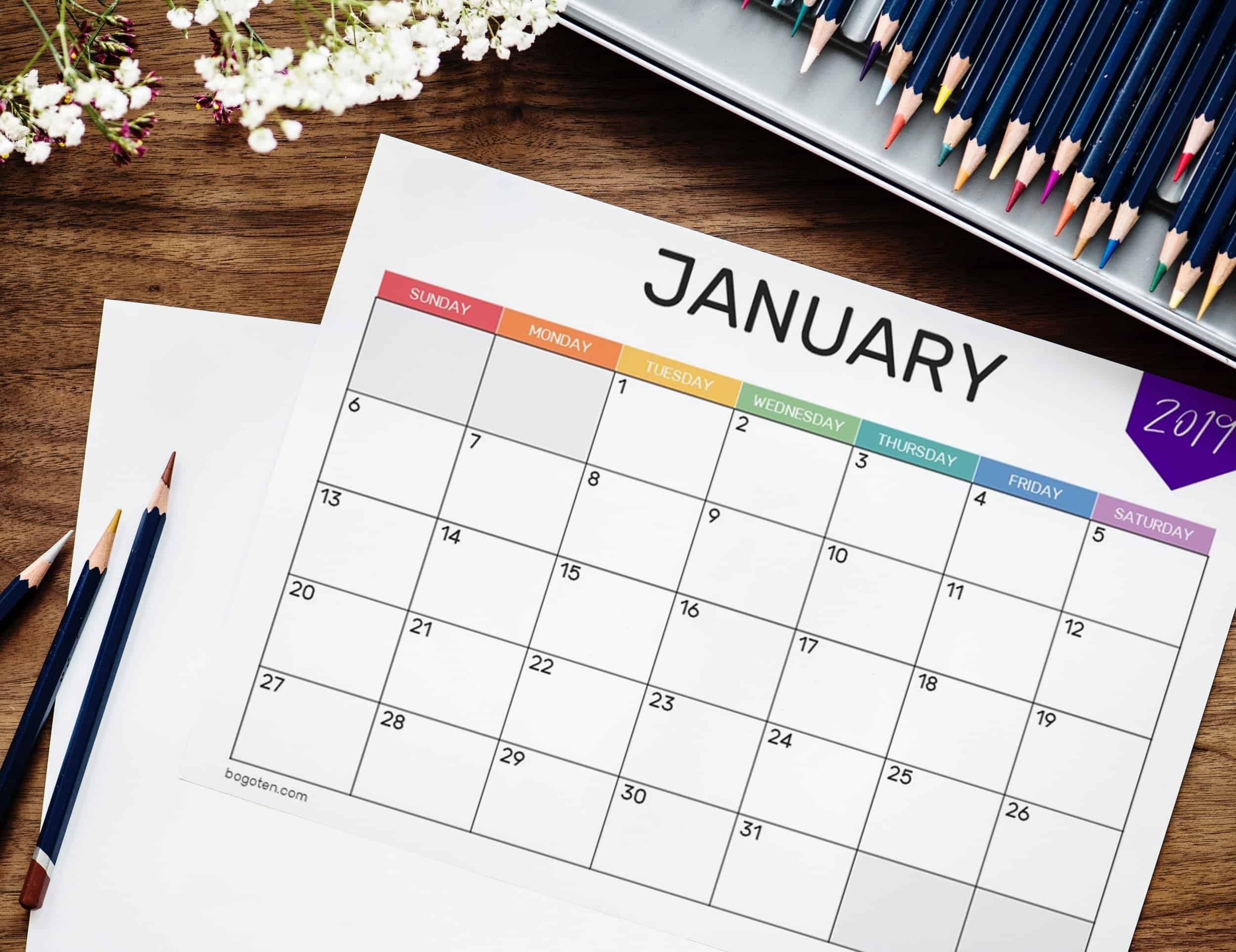 Free 2019 Printable Calendars throughout 2019 2020 Calendar Space To Write