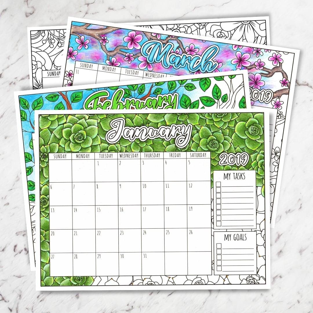 Free 2019 Printable Coloring Calendar -Sarah Renae Clark pertaining to 2019 2020 Calendar Printable Color In