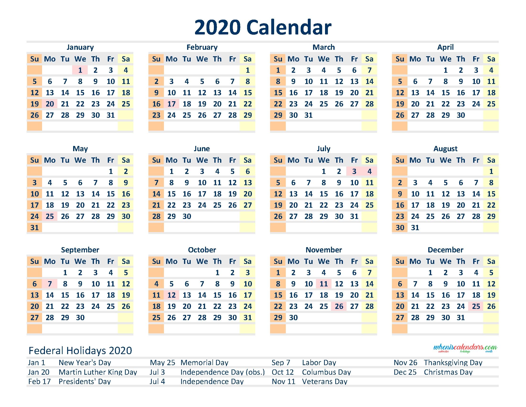 Free 2020 12 Month Calendar Printable Pdf, Excel, Image inside 2020 12 Month Calendar Printable