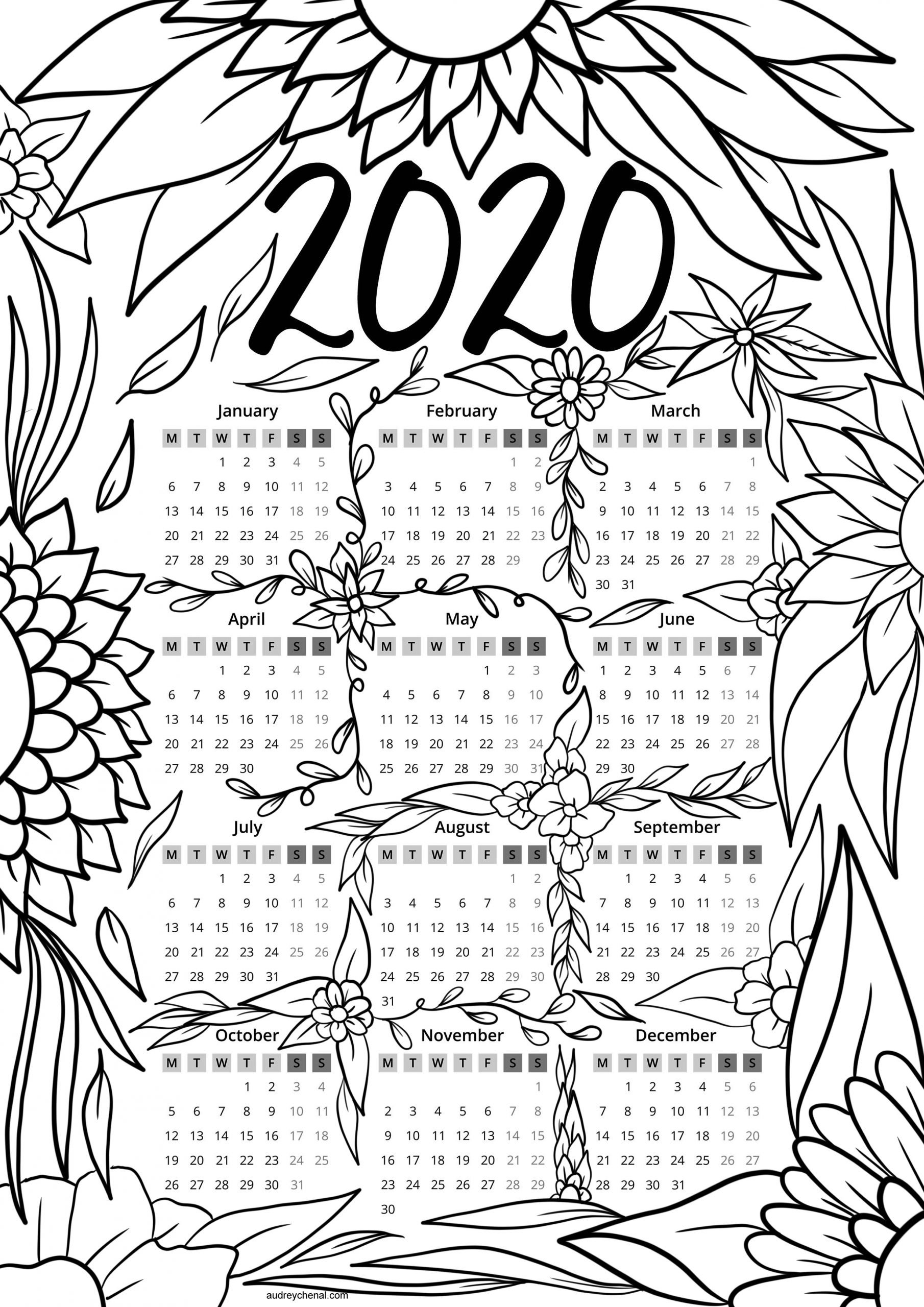 Free 2020 Calendar Adult Coloring Page Instant Digital Download within 2020 Printable Yearly Colouring Calendar