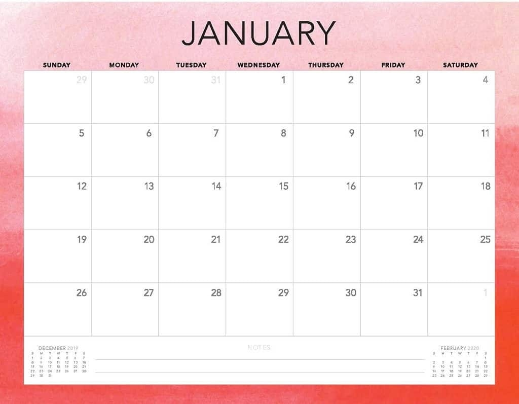 Free 2020 Printable Calendars - 51 Designs To Choose From! for 2020 Month Calendar Sunday Through Saturday