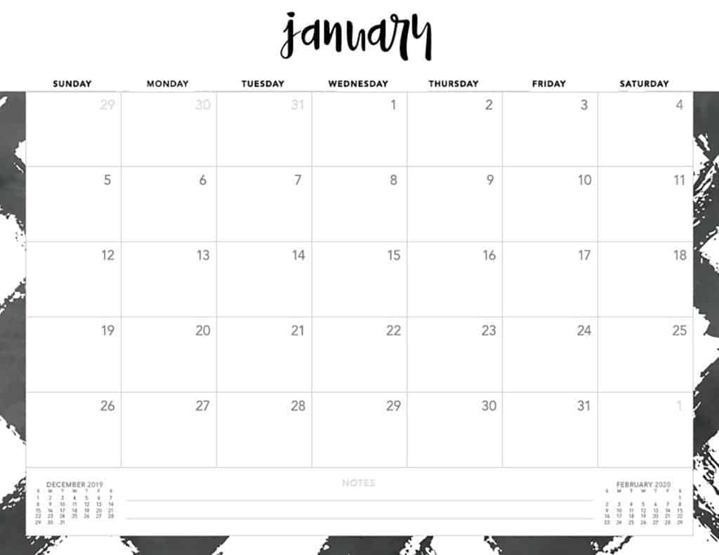 Free 2020 Printable Calendars - 51 Designs To Choose From! for Free 2020 Calender Starting With Monday