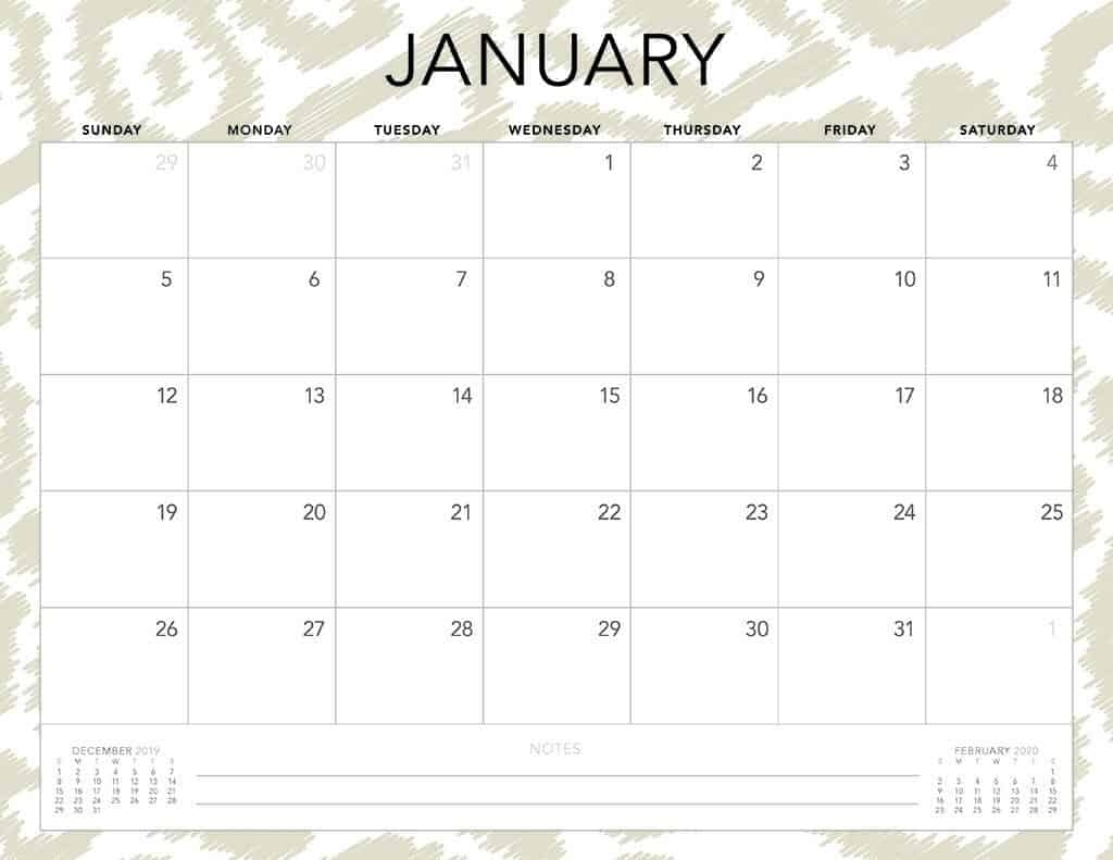 Free 2020 Printable Calendars - 51 Designs To Choose From! pertaining to 2020 Month Calendar Sunday Through Saturday