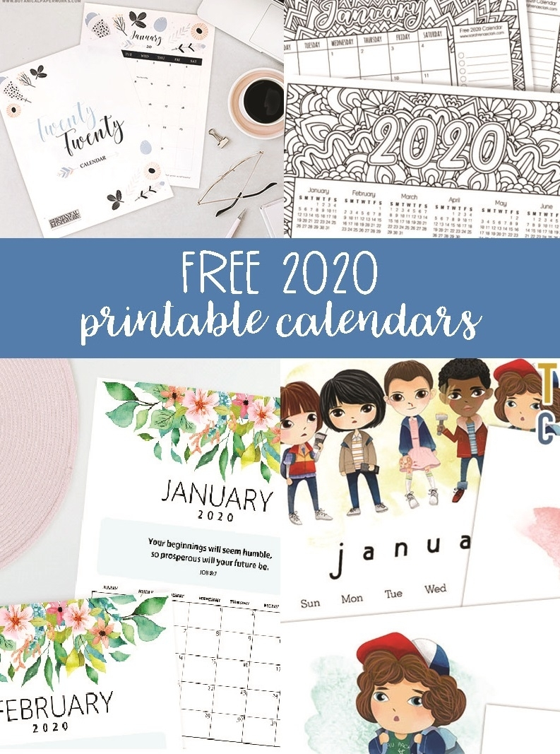 Free 2020 Printable Calendars - Crafting In The Rain for 2020 Design Calendar Printable Free