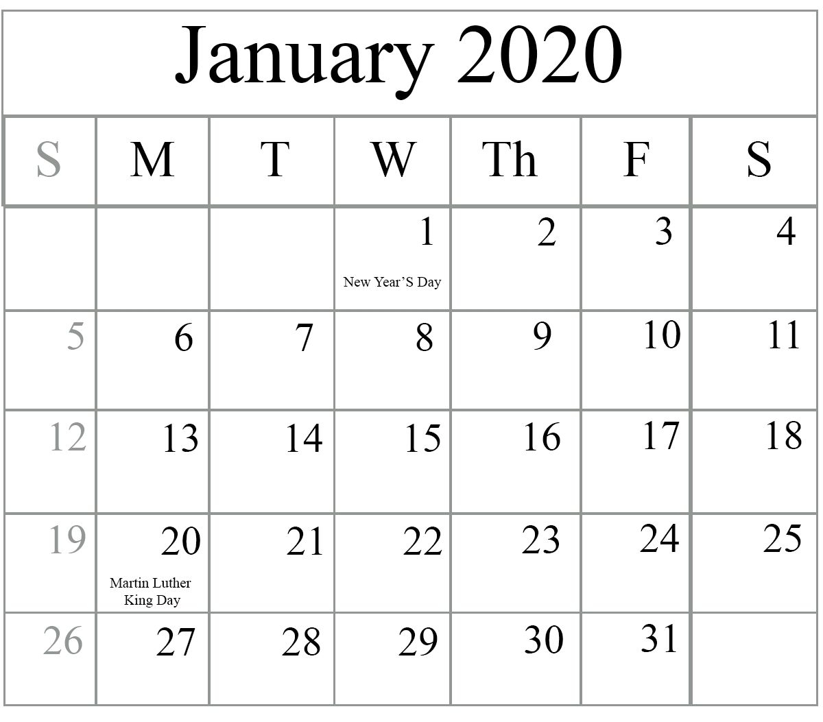 Free 2020 Printable Calendars Without Downloading In 2020