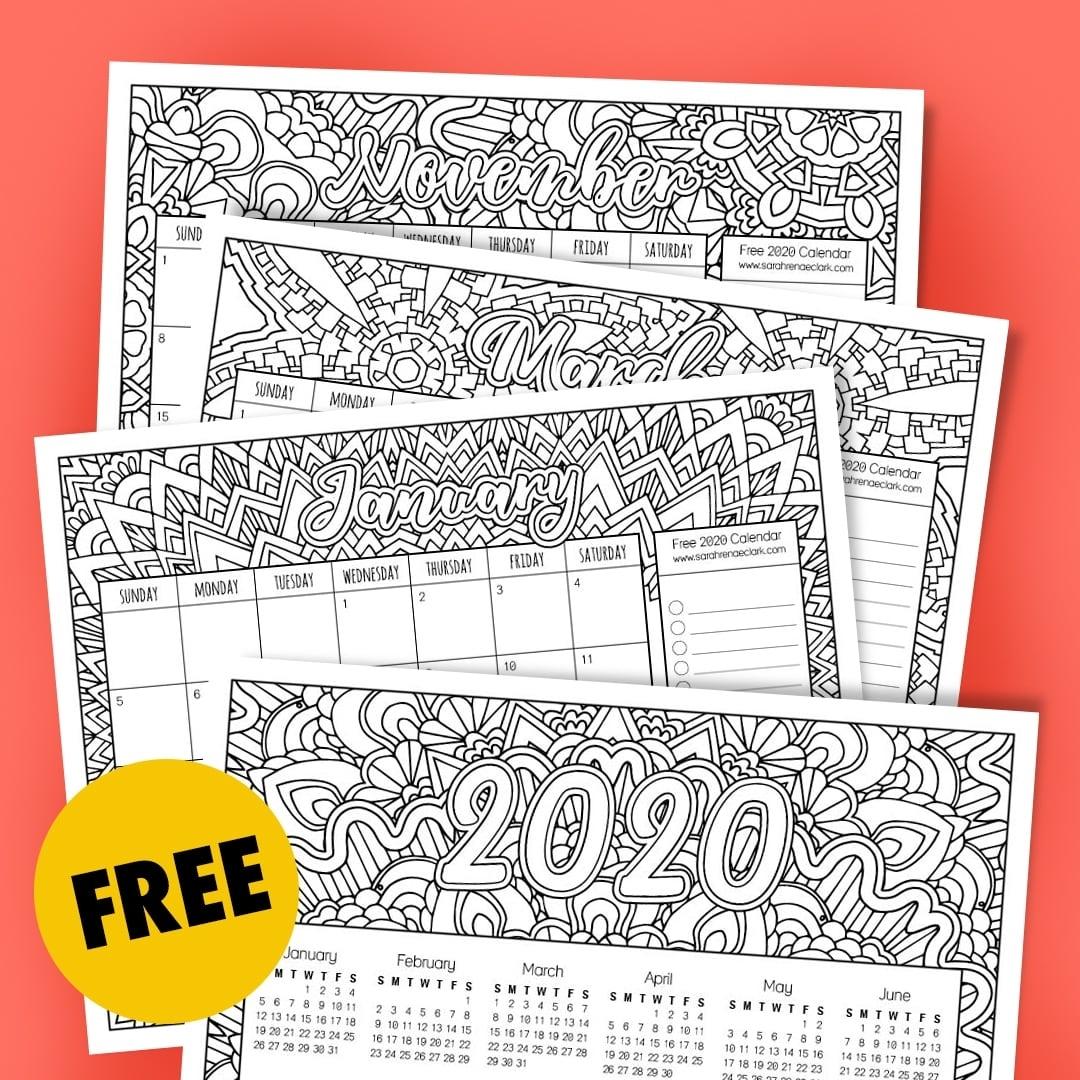 Free 2020 Printable Coloring Calendar -Sarah Renae Clark for 2019 2020 Calendar Printable Color In