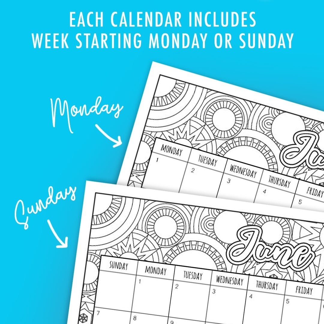 Free 2020 Printable Coloring Calendar -Sarah Renae Clark in 2020 Printable Yearly Colouring Calendar
