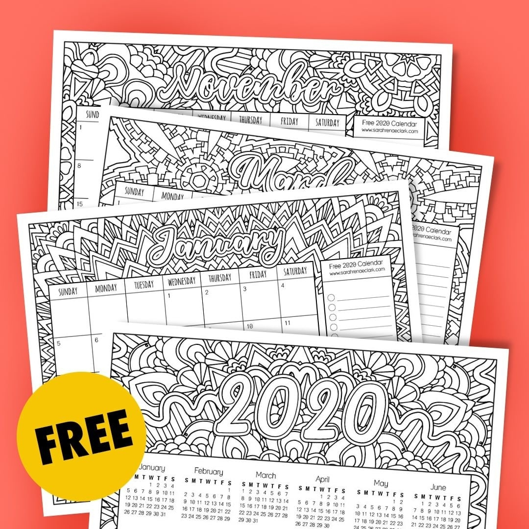 Free 2020 Printable Coloring Calendar -Sarah Renae Clark intended for Printable Coloring 2020 Monthly Calendar