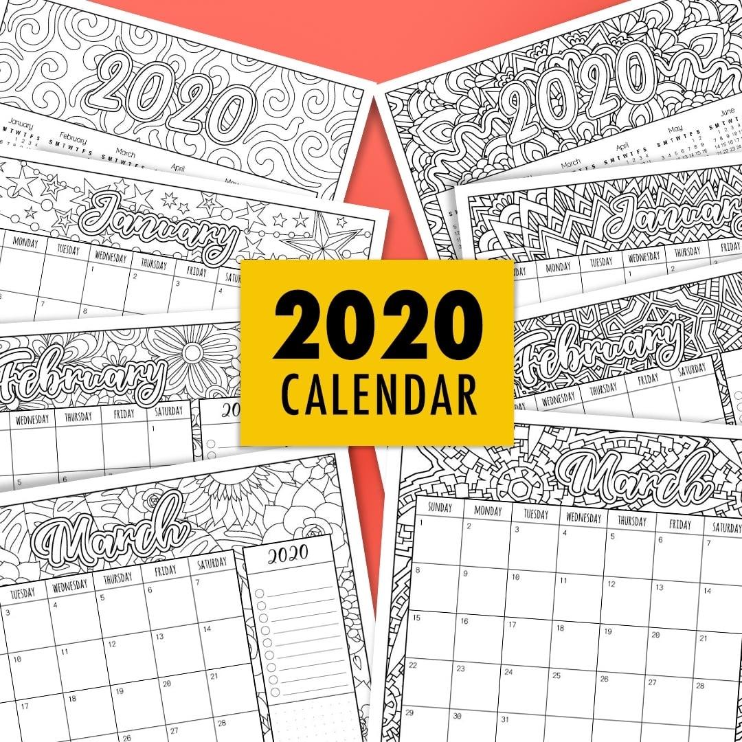 Free 2020 Printable Coloring Calendar -Sarah Renae Clark regarding 2020 Printable Yearly Colouring Calendar