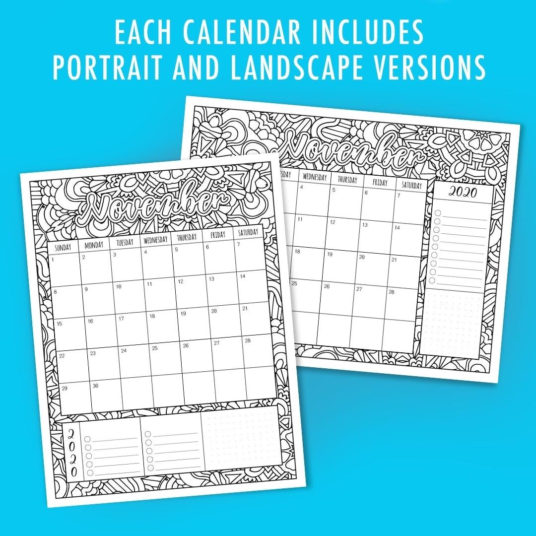 Free 2020 Printable Coloring Calendar -Sarah Renae Clark with 2020 Printable Yearly Colouring Calendar