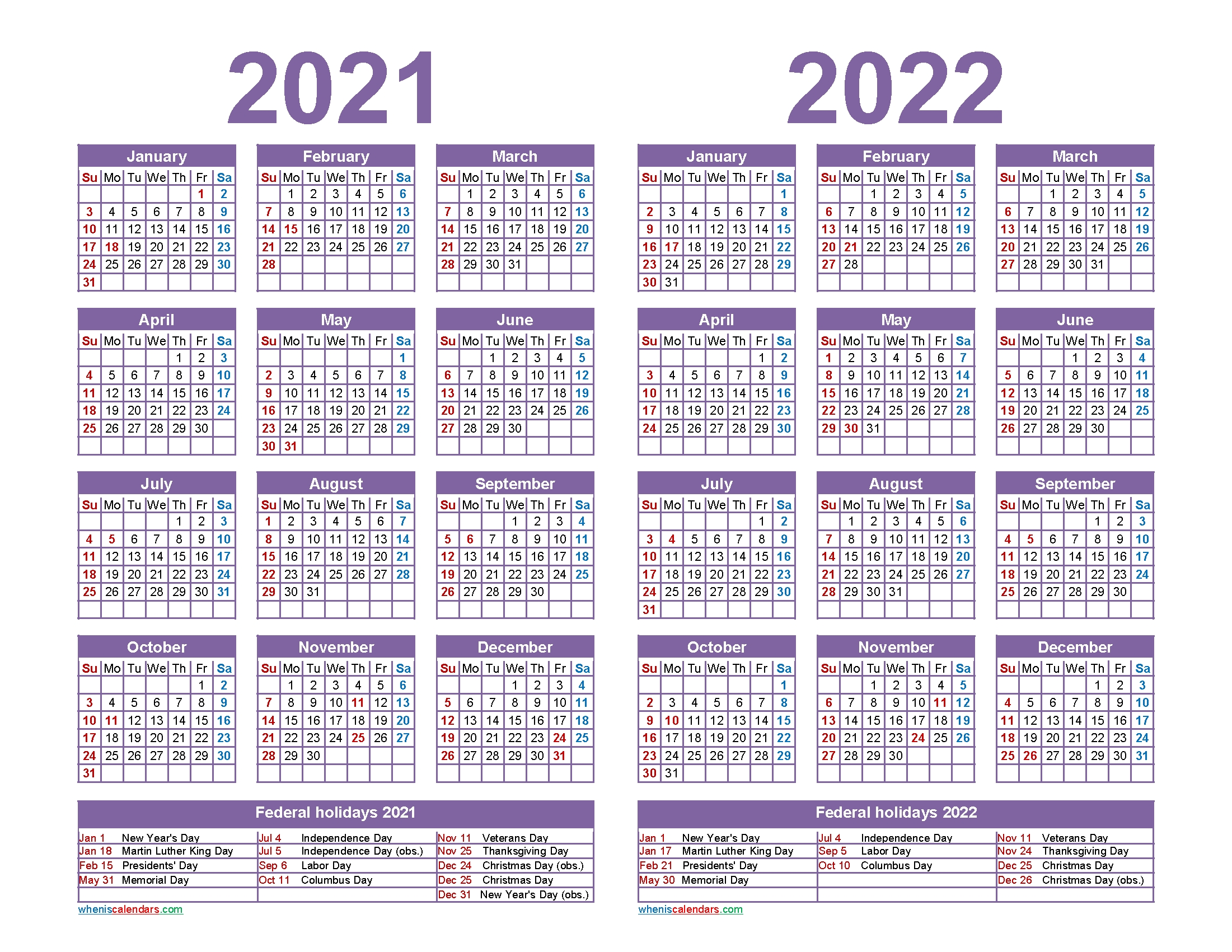Free 2021 2022 Calendar Printable With Holidays – Free 2020