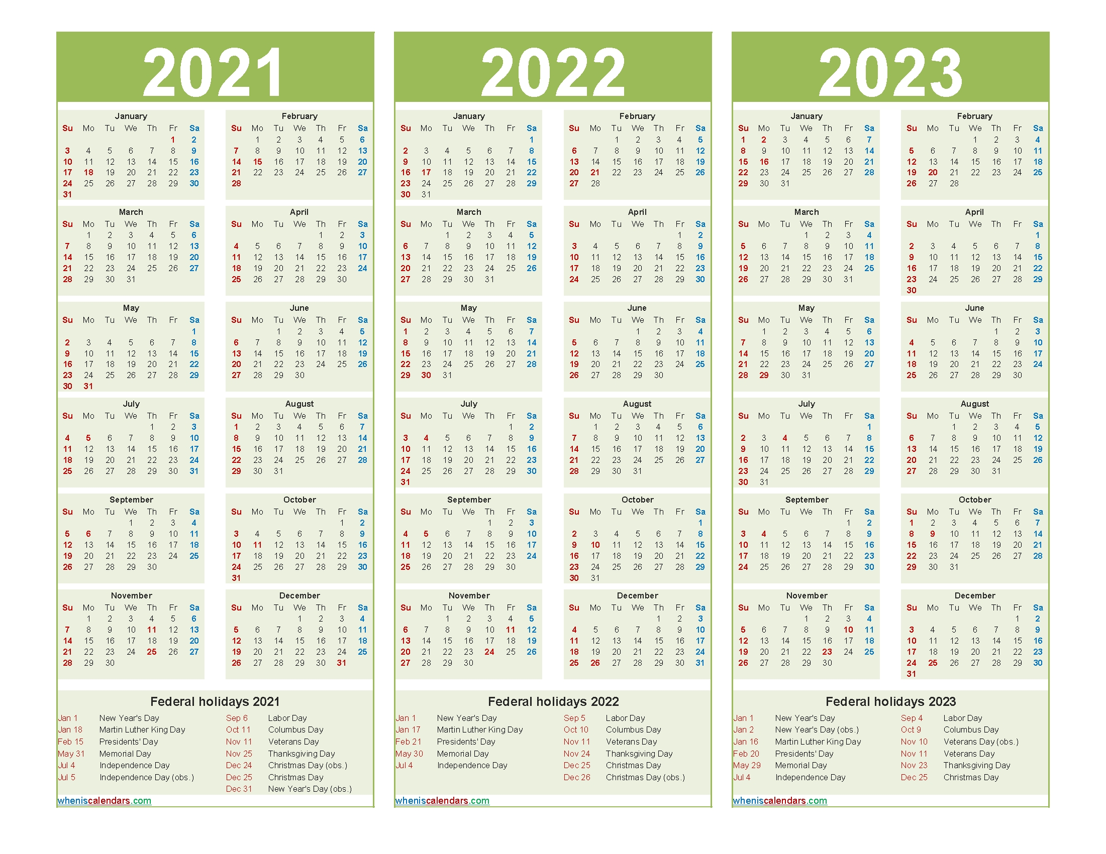 Free 2021 And 2022 And 2023 Calendar With Holidays