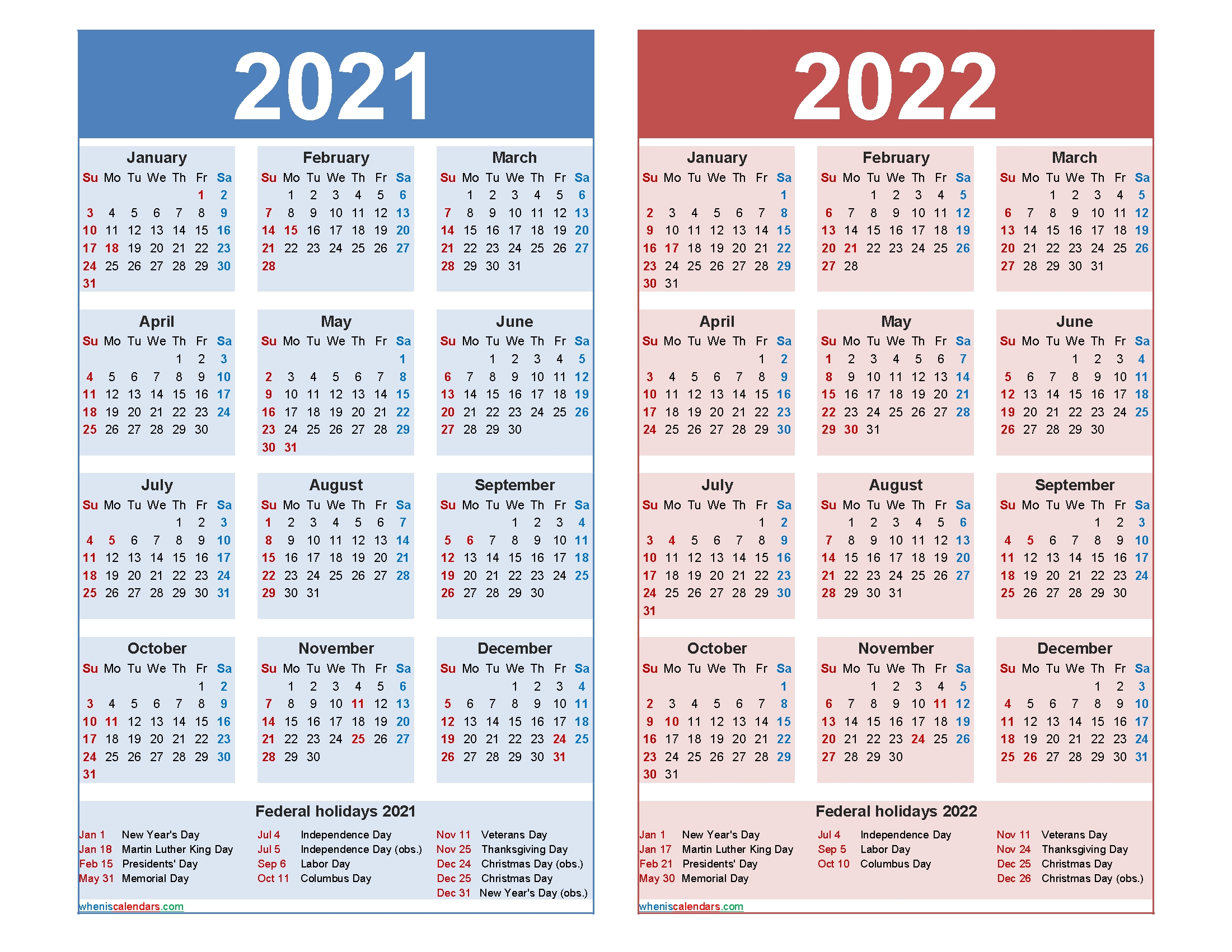 Free 2021 And 2022 Calendar Printable With Holidays – Free within 2020 2021 2022 Calendar Printable