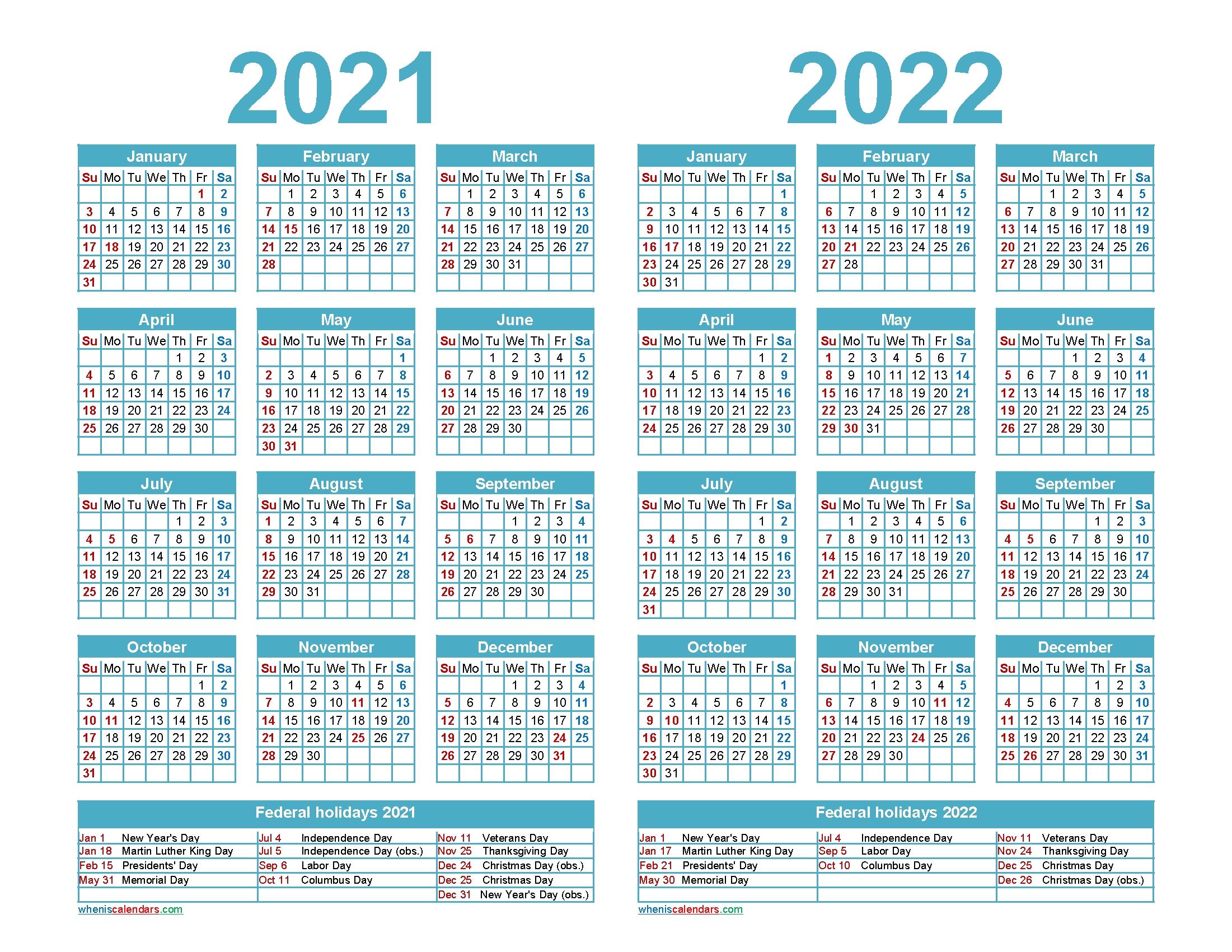 Free 2021 And 2022 Calendar Printable Word, Pdf