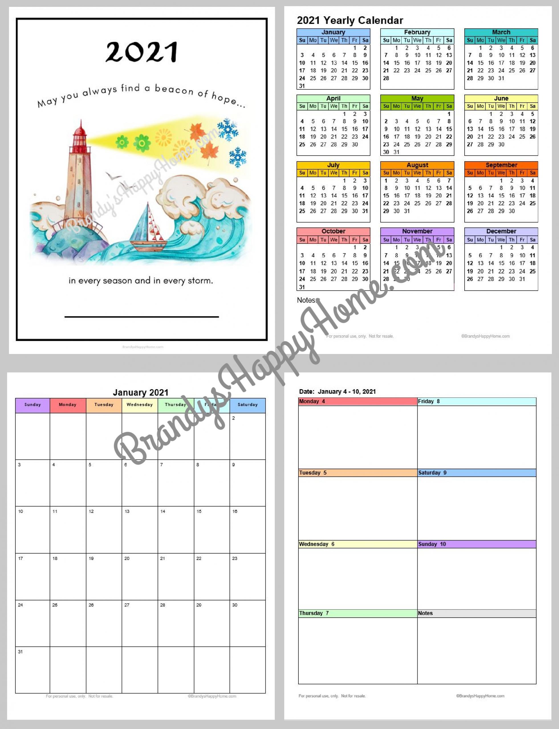Free 2021 Calendar Planner Printables regarding Free Printable Pocket Size Calendar