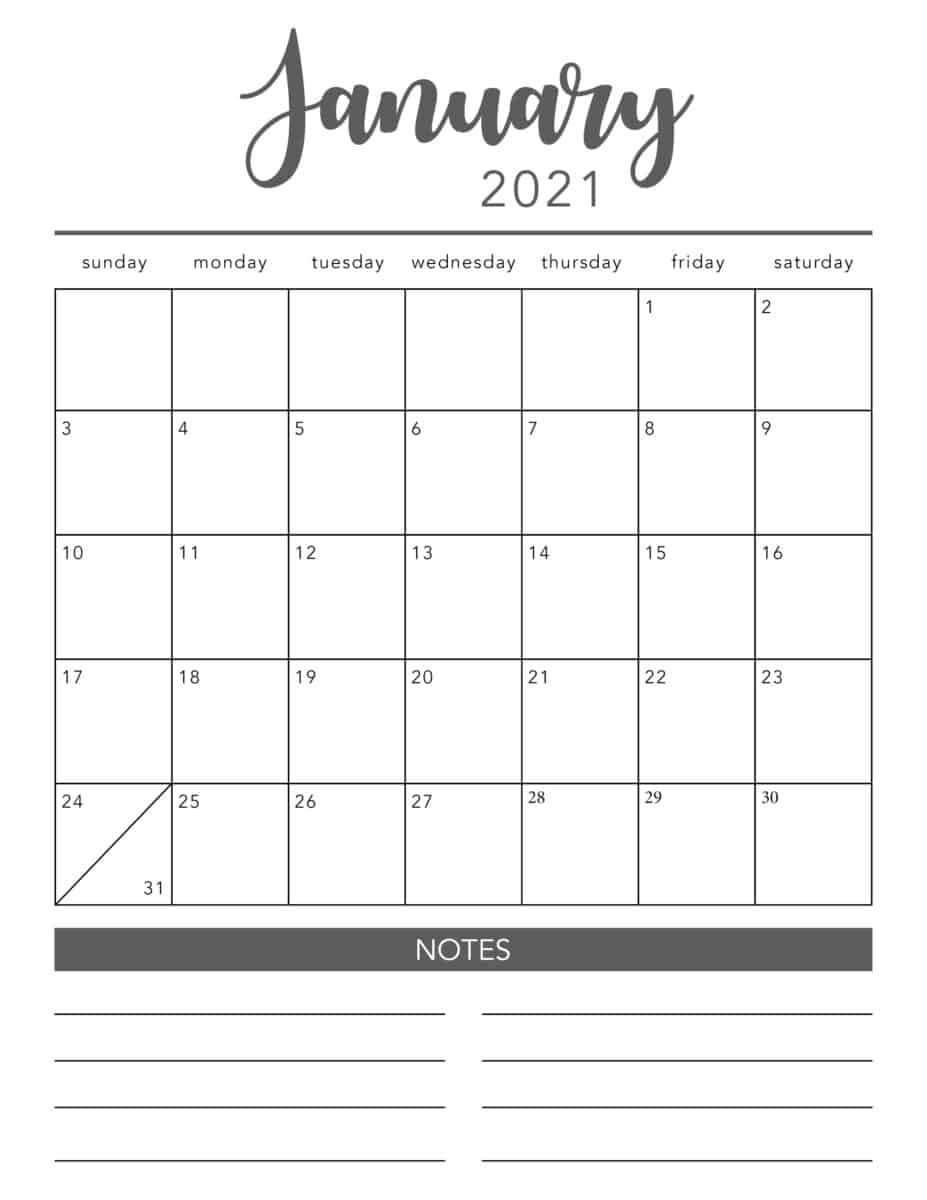 Free 2021 Printable Calendar Template (2 Colors!) - I Heart within Google Free Printable Calendars 2020