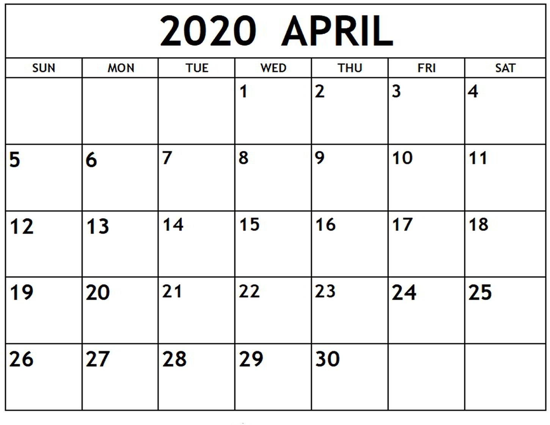 Free April 2020 Weekly Calendar - Print Your Calendar inside Calendar 2020 Week Wise In Window