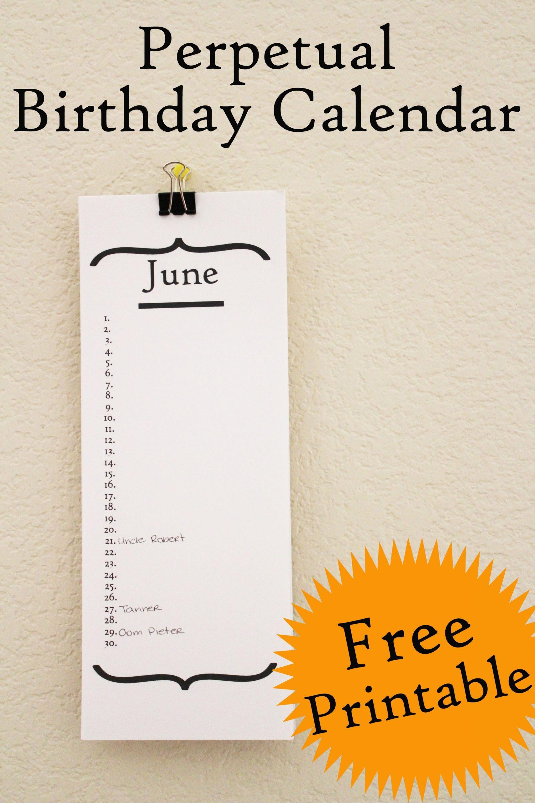 Free Birthday Calendar Printable - 30 Minute Crafts