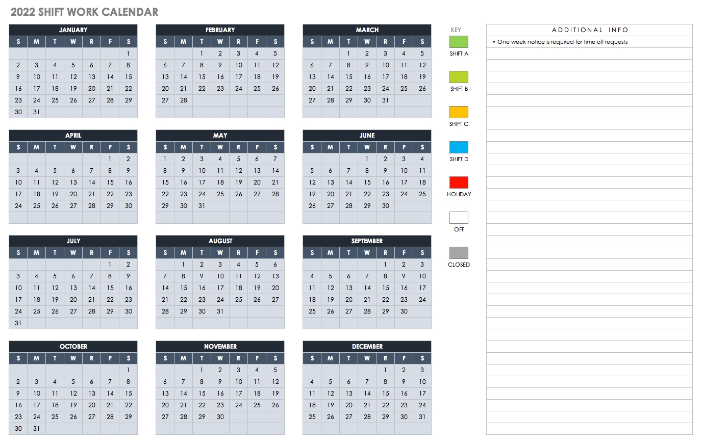 Free Blank Calendar Templates - Smartsheet for Year Calendar 2020 With Space To Write Int