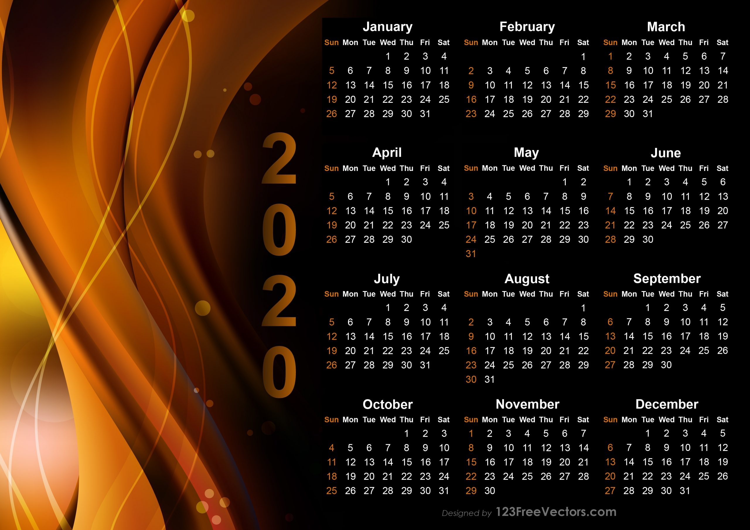 Free Calendar 2020 Design Templates Free Download within 2020 Design Calendar Printable Free