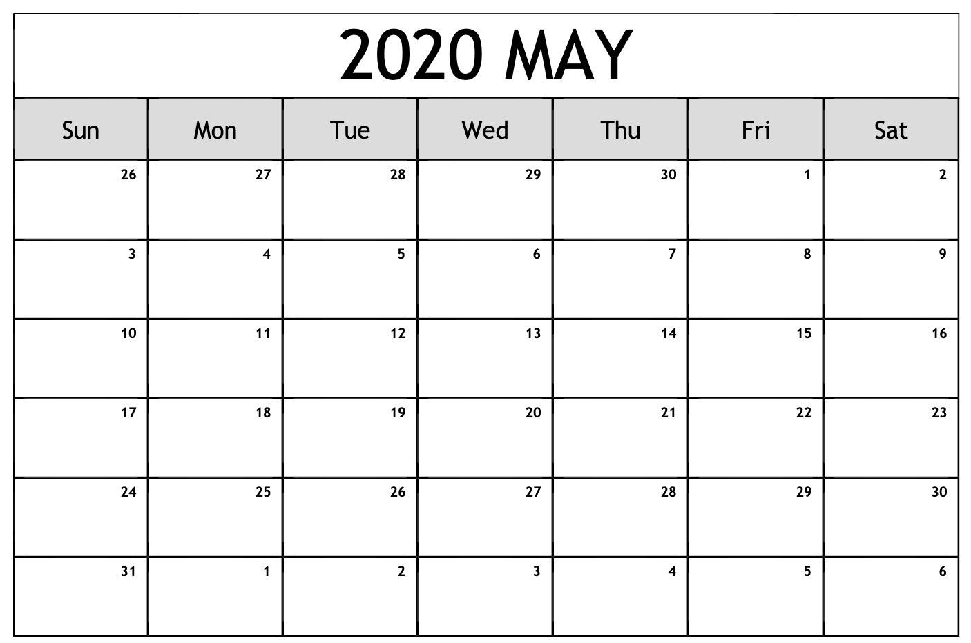 Free Calendar For May 2020 | Free Printable Calendar regarding Printable Fill In 2020 Calendar Large Print