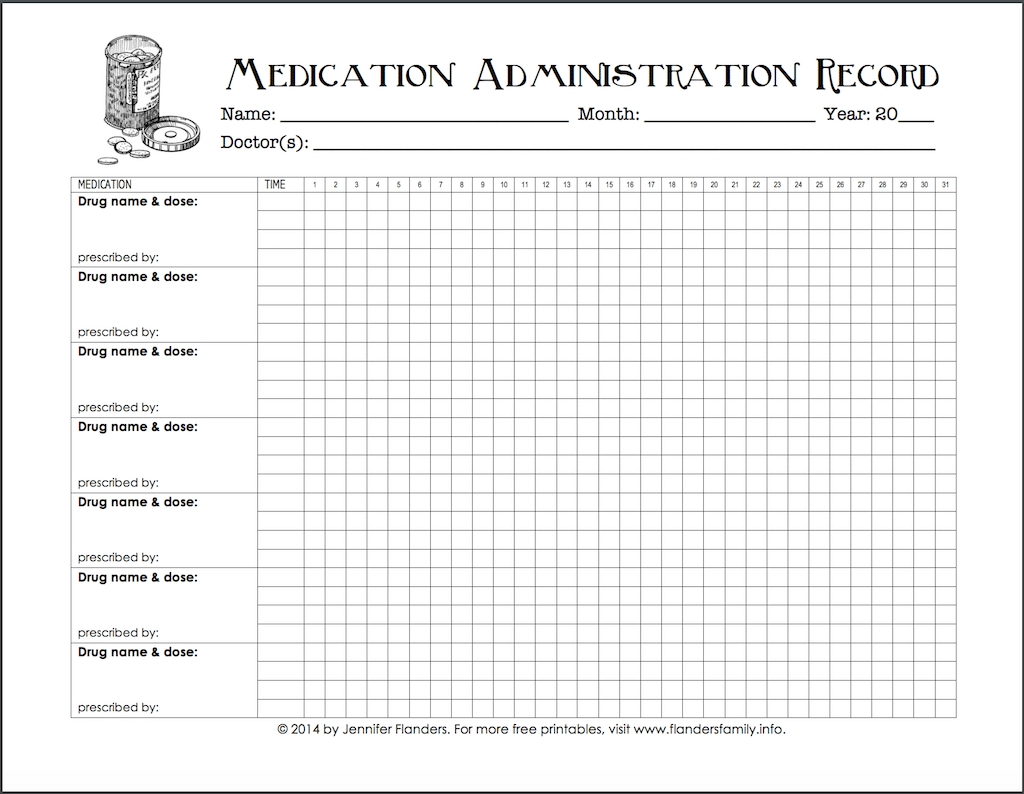 Free Chart For Keeping Track Of Medications - Flanders for Medication Sheets For 7 Days