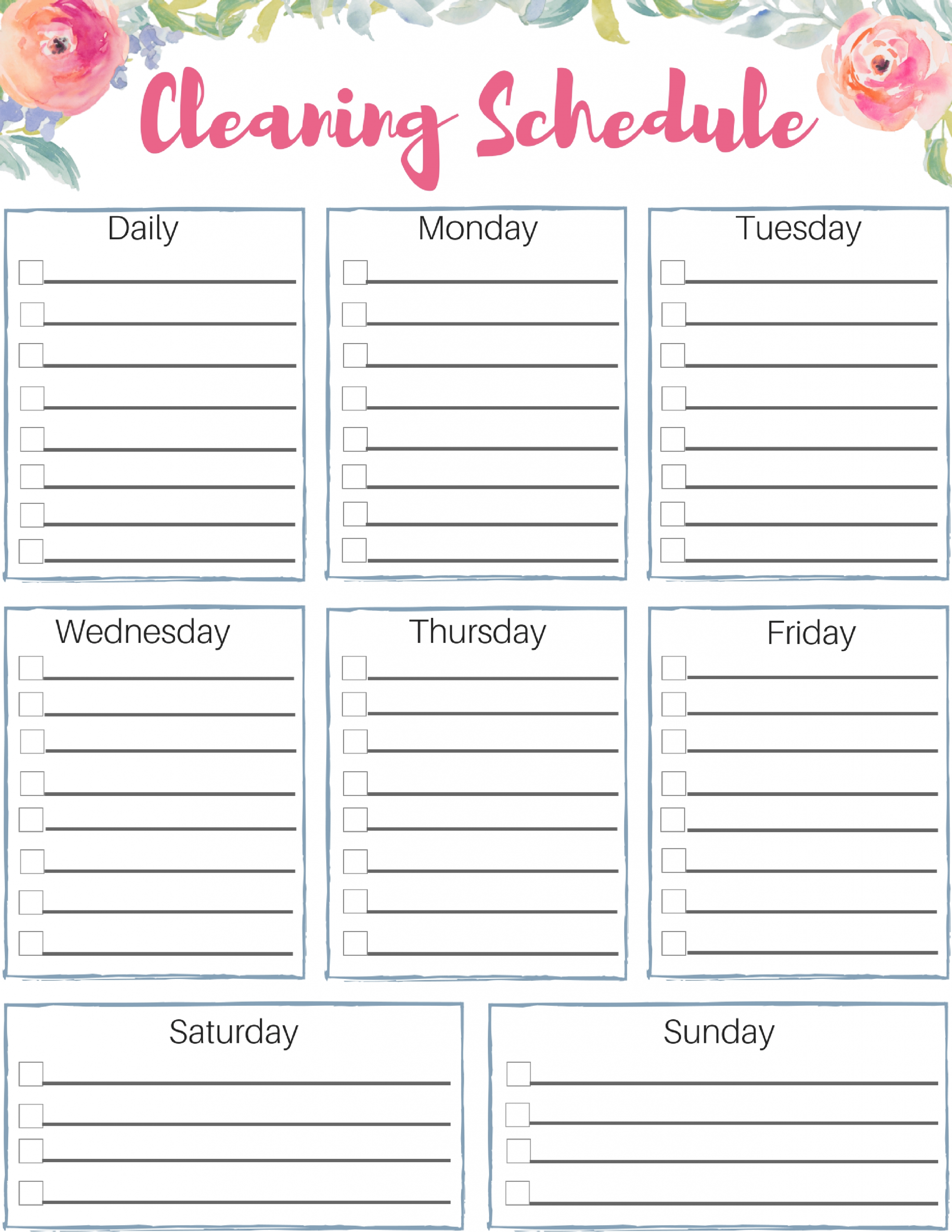 Free Customizable Cleaning Schedule. Check Out This Great