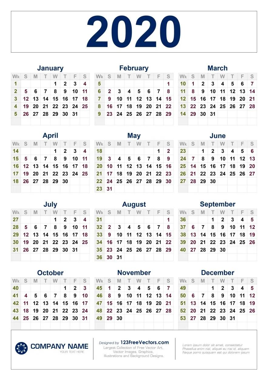 Free Download 2020 Calendar With Week Numbers In 2020 inside 2020 Calender Year Week Wise