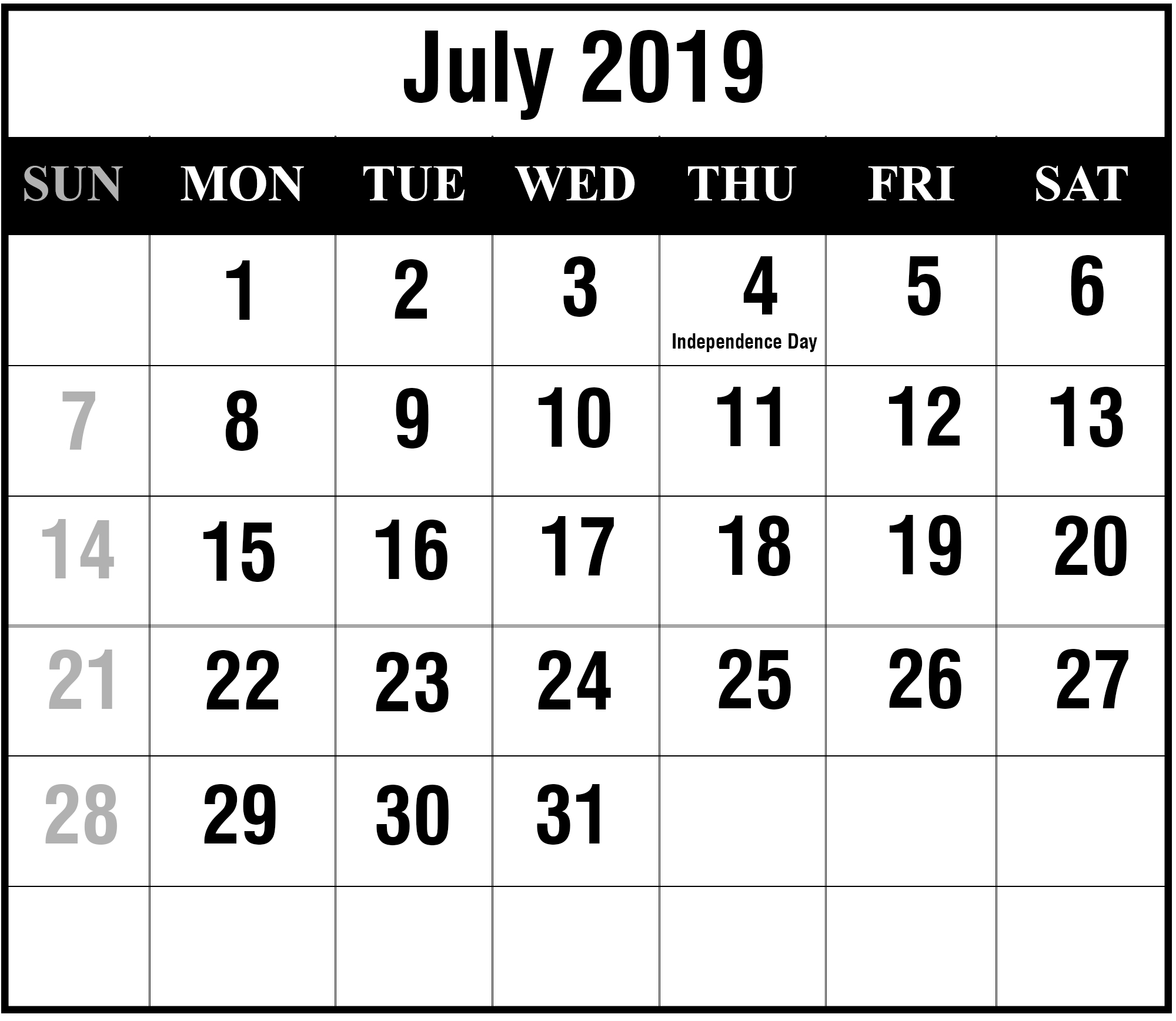 Free Download July 2019 Printable Calendar Template In Pdf intended for Fill In Calendar 2019 Pdf