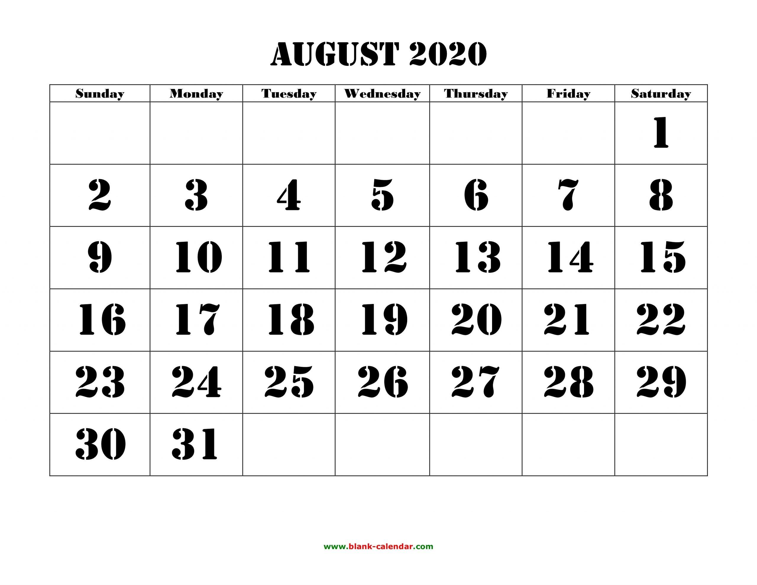 Free Download Printable August 2020 Calendar, Large Font with Printable Fill In 2020 Calendar Large Print