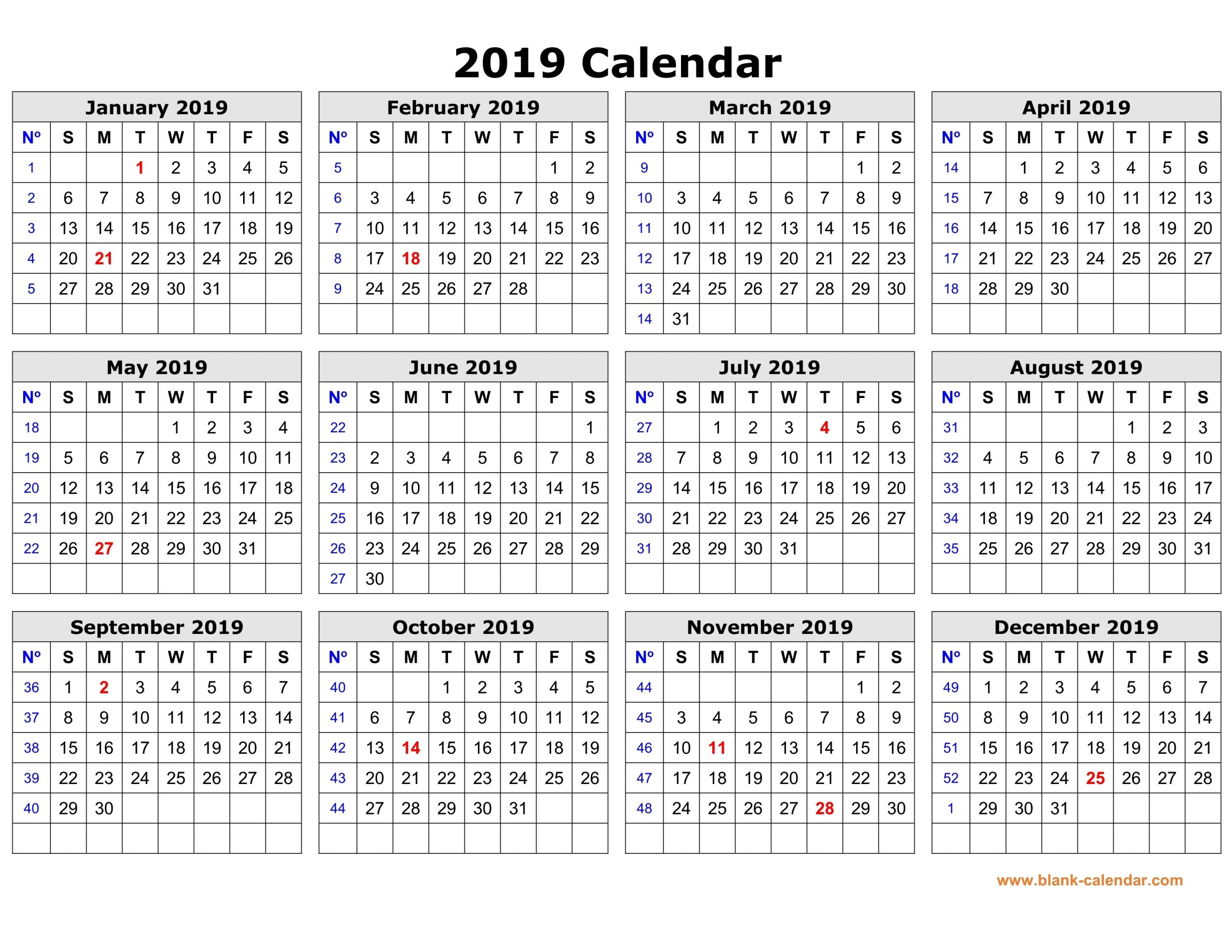 Free Download Printable Calendar 2019 In One Page, Clean Design.