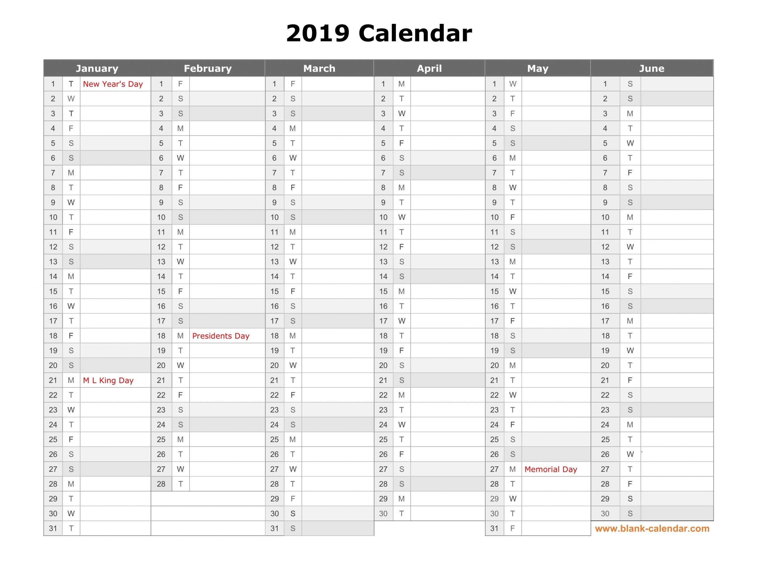 Free Download Printable Calendar 2019, Month In A Column inside Fill In Calendar 2019 Printable