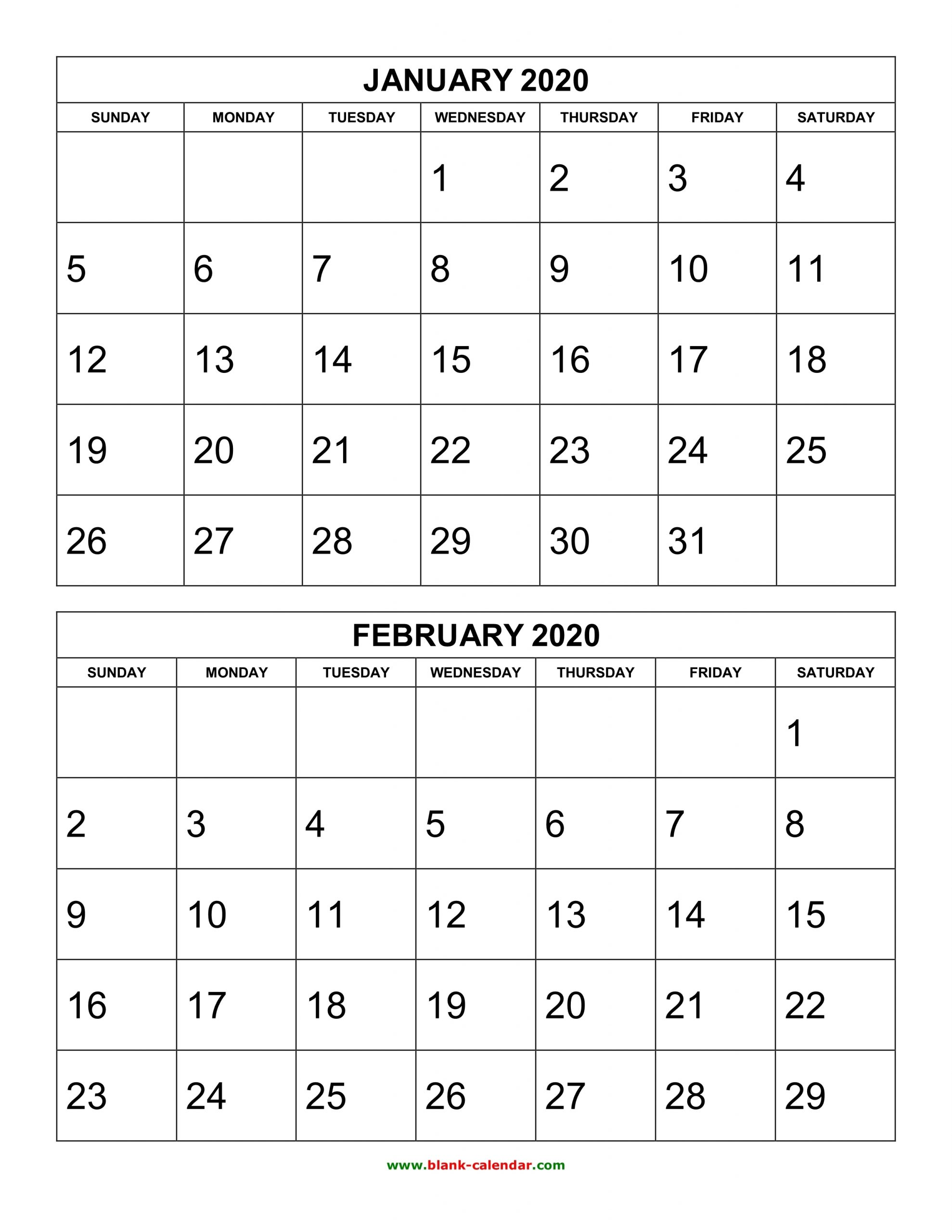 Free Download Printable Calendar 2020, 2 Months Per Page, 6 with Free Half Page 2020 Monthly Calanders