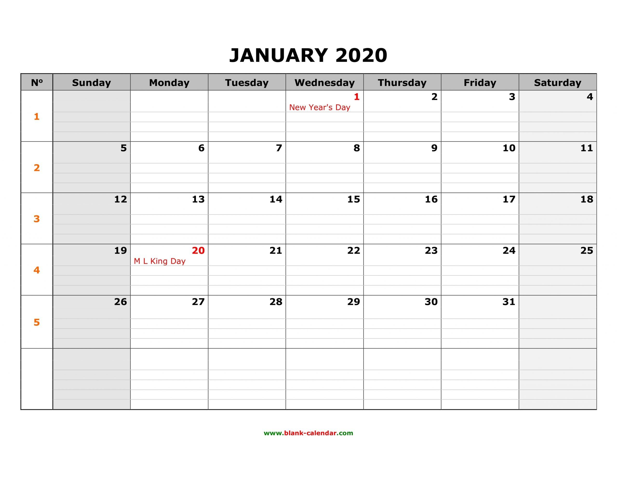 Free Download Printable Calendar 2020, Large Box Grid, Space in Free Printable Calendar With Space To Write