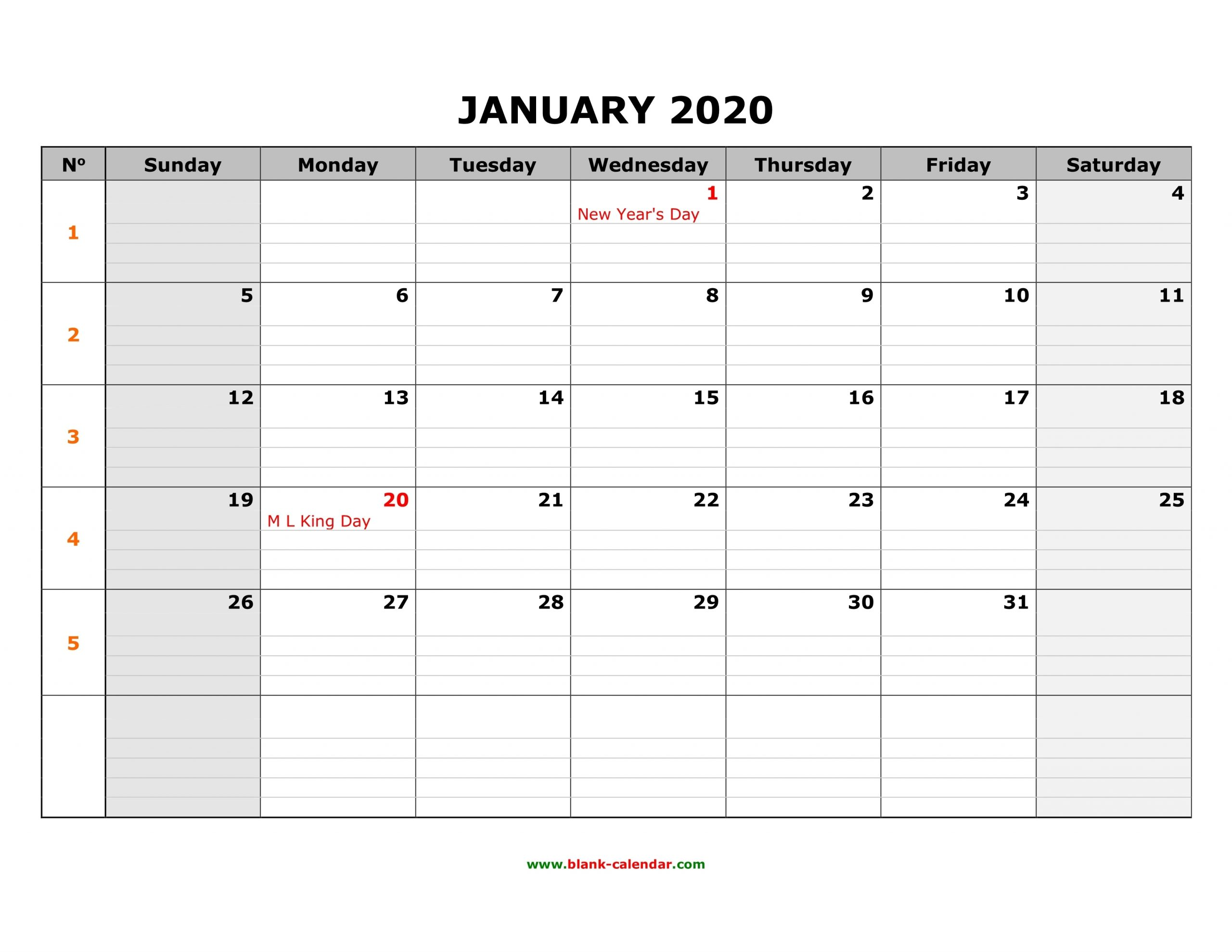 Free Download Printable Calendar 2020, Large Box Grid, Space in Year Calendar 2020 With Space To Write Int