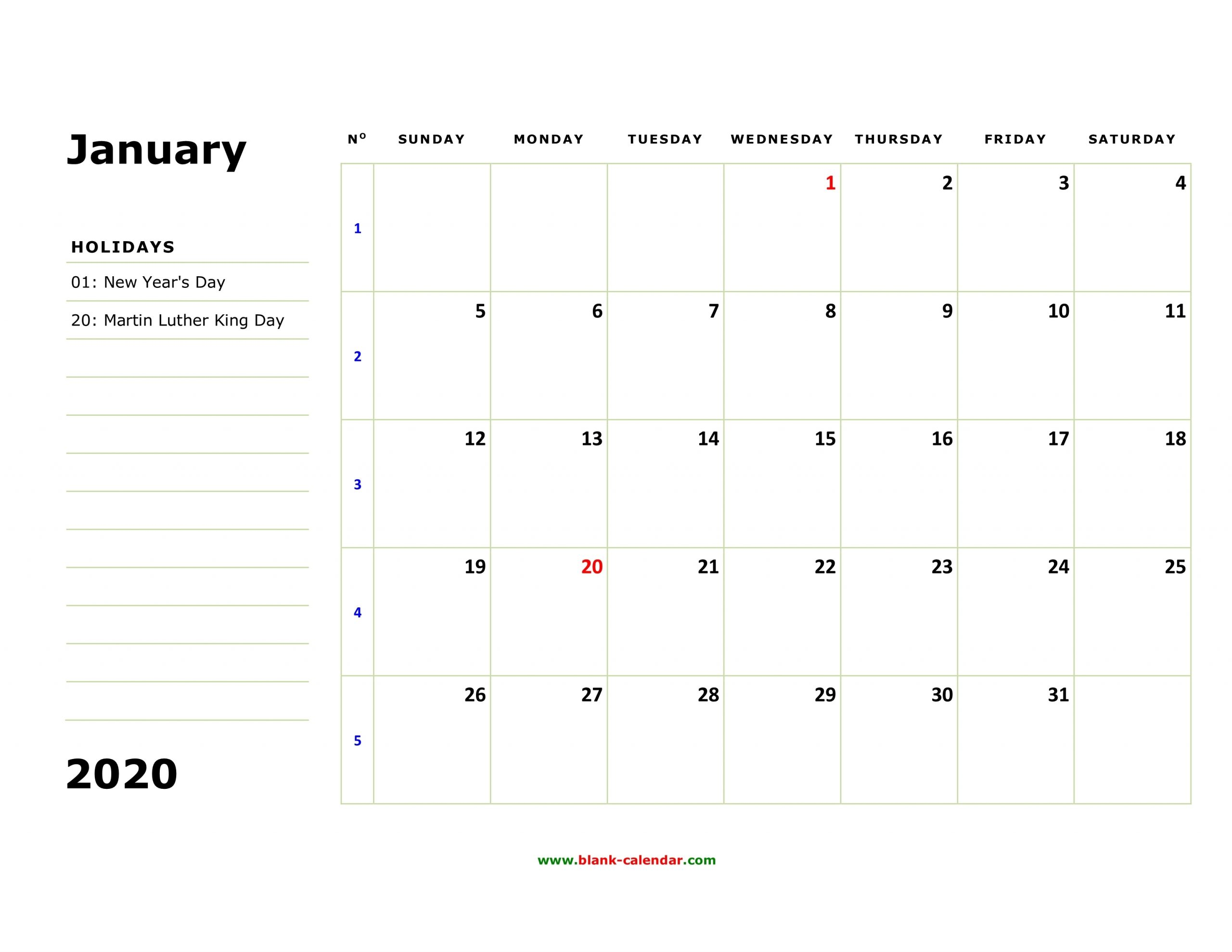 Free Download Printable Calendar 2020, Large Box, Holidays inside 2020 Year Calendar Printable With Space