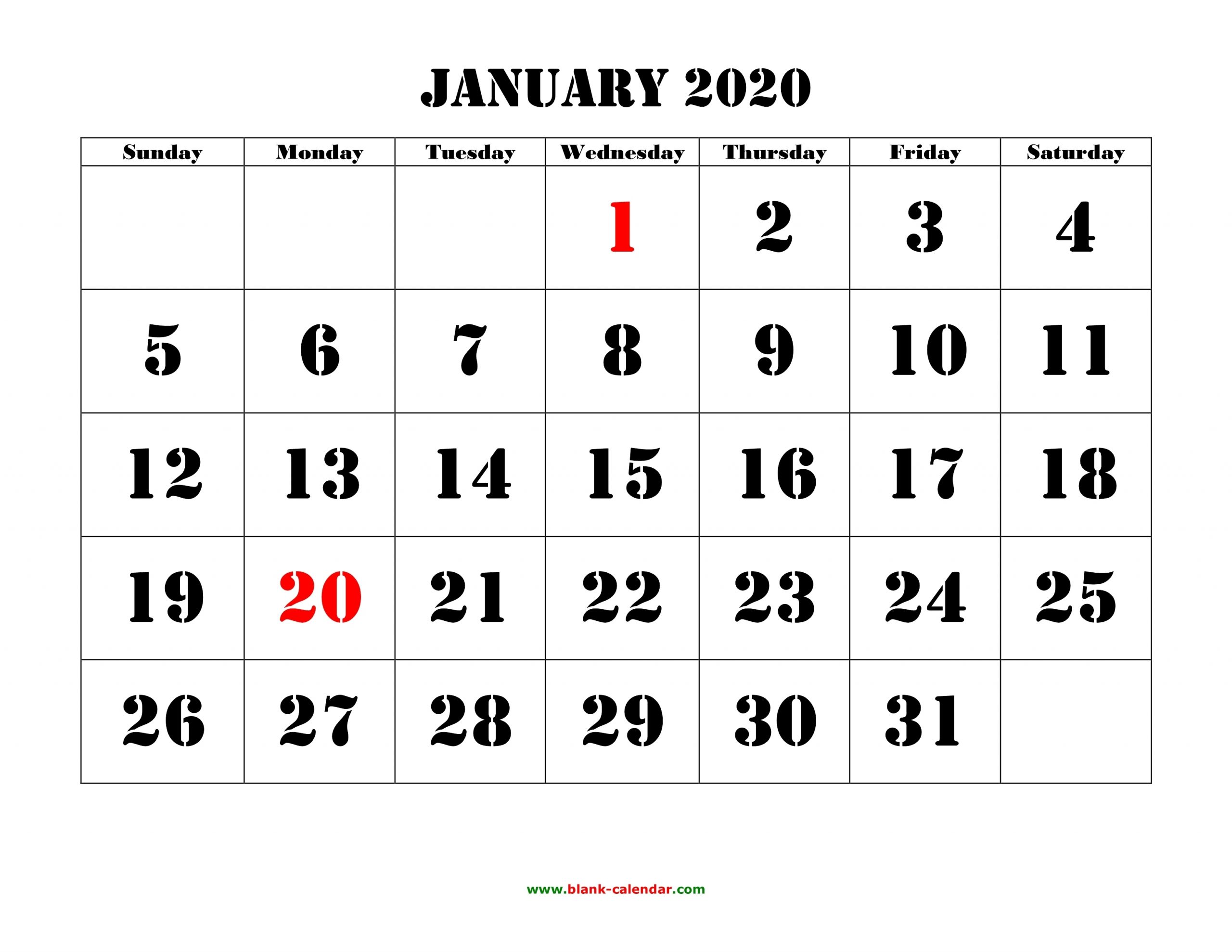 Free Download Printable Calendar 2020, Large Font Design in Free Printable 2020 Calendars Large Numbers