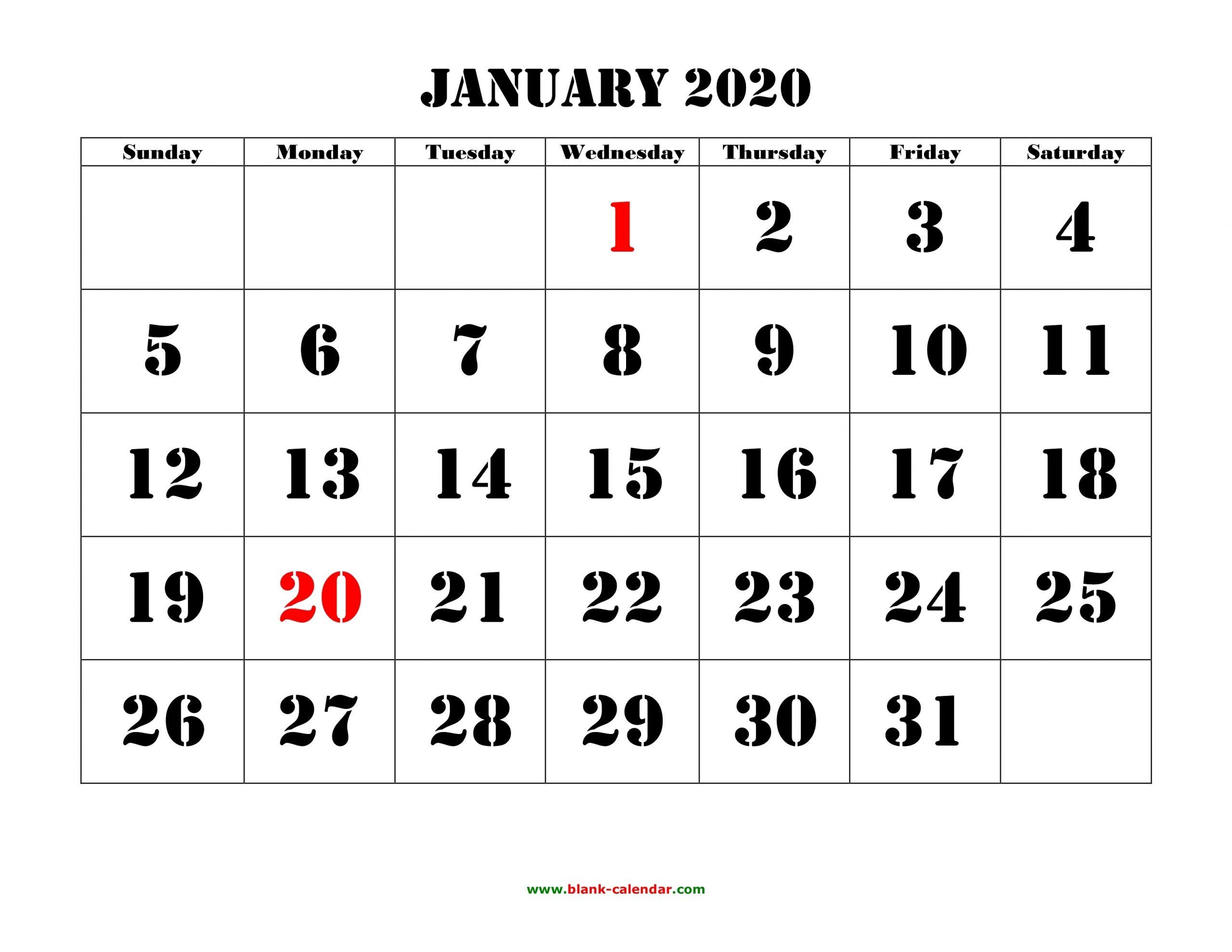 Free Download Printable Calendar 2020, Large Font Design inside Printable Fill In 2020 Calendar Large Print