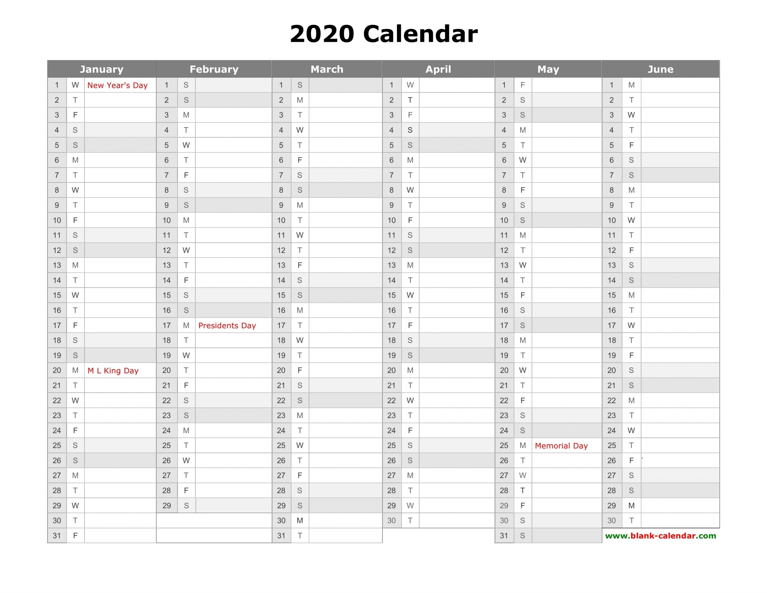 Free Download Printable Calendar 2020, Month In A Column in Free Half Page 2020 Monthly Calanders