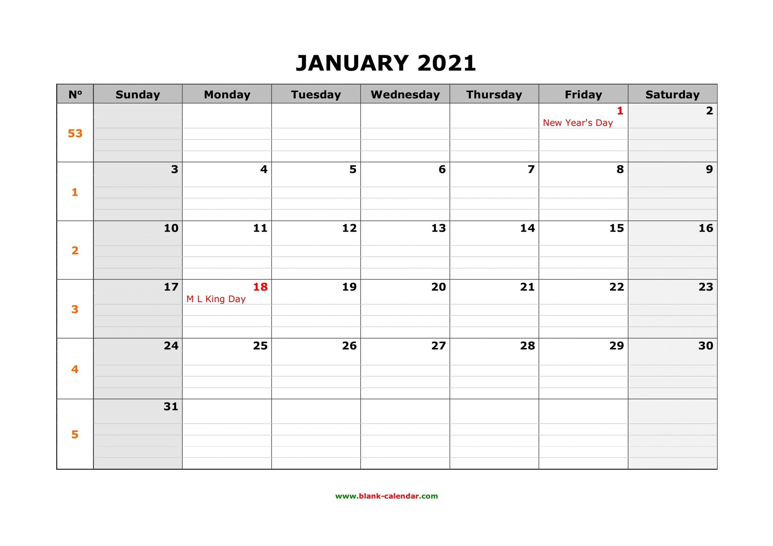 Free Download Printable Calendar 2021, Large Box Grid, Space