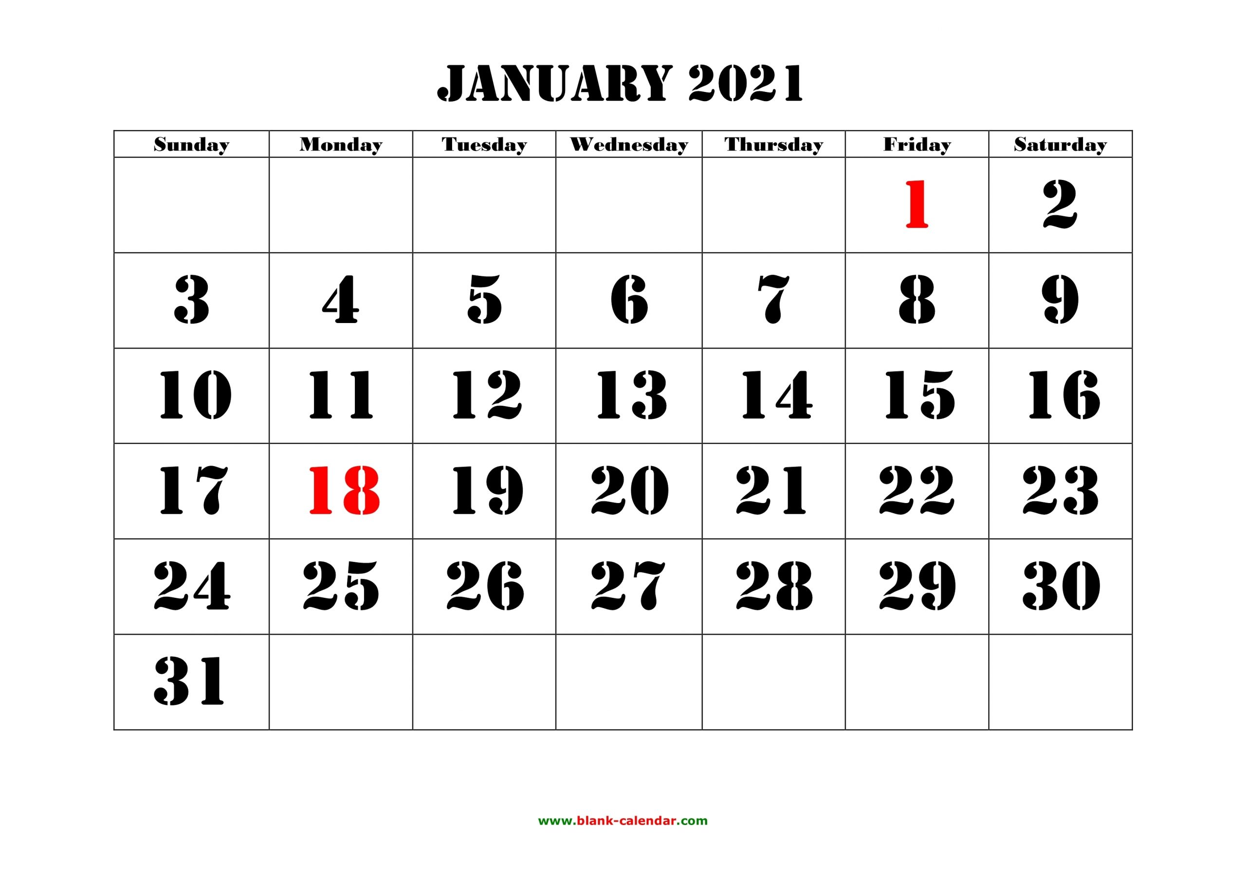 Free Download Printable Calendar 2021, Large Font Design