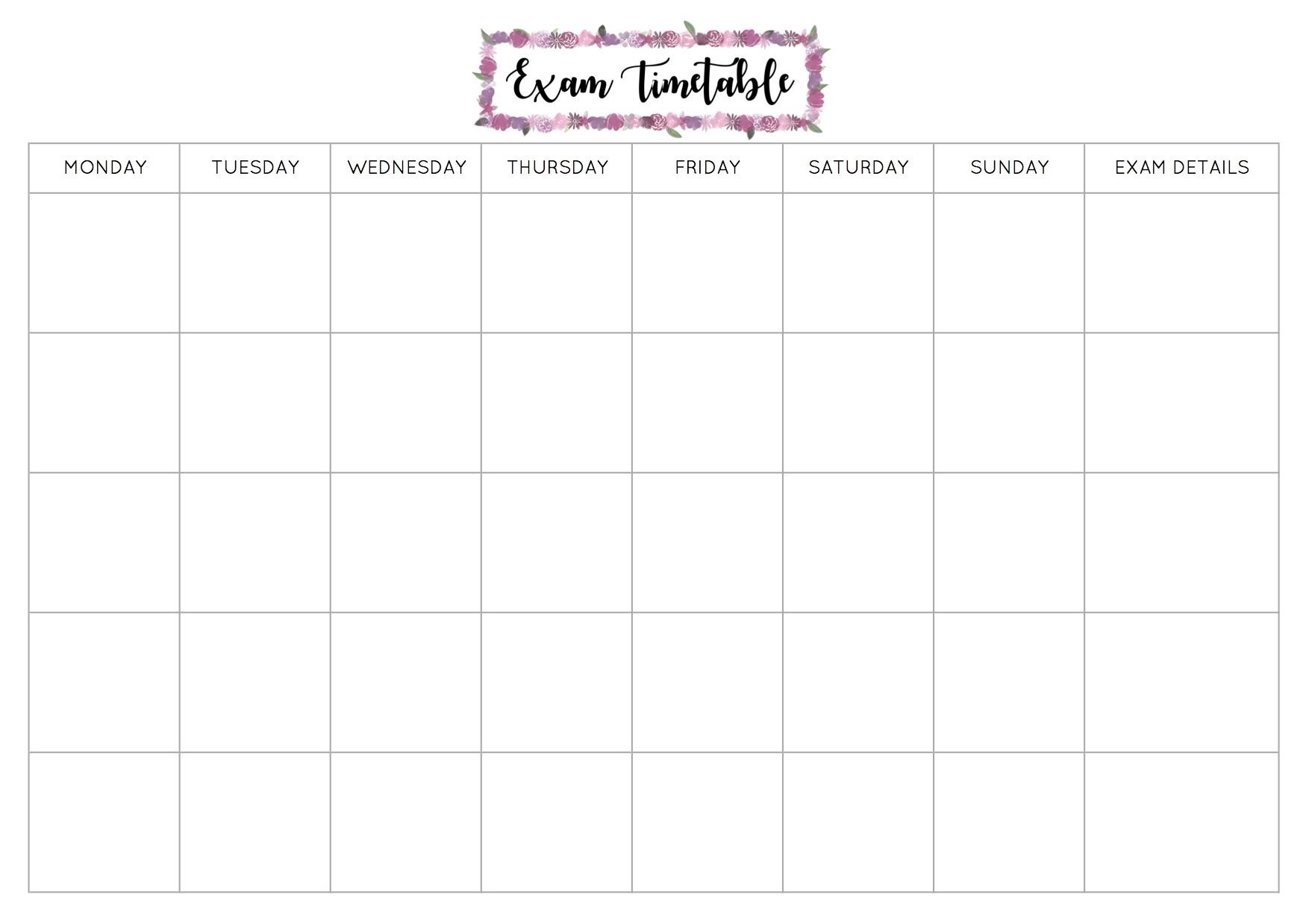 Free Exam Timetable Printable