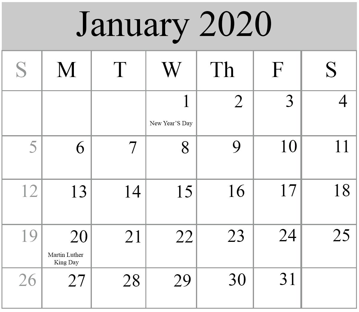 Free January 2020 Printable Calendar With Holidays throughout 2020 Calendar Free Printable Imom