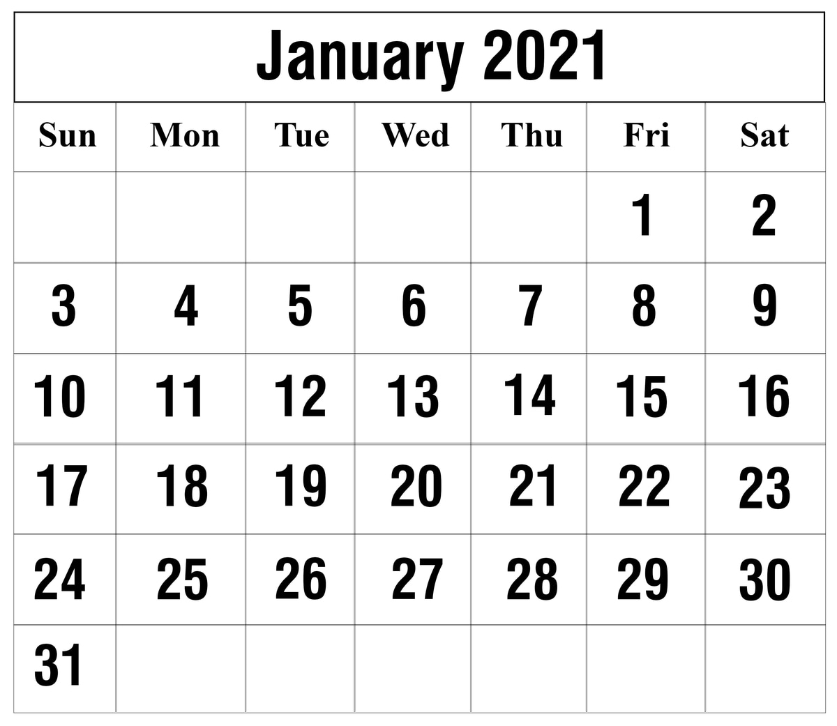 Free January 2021 Printable Calendar Template In Pdf, Excel