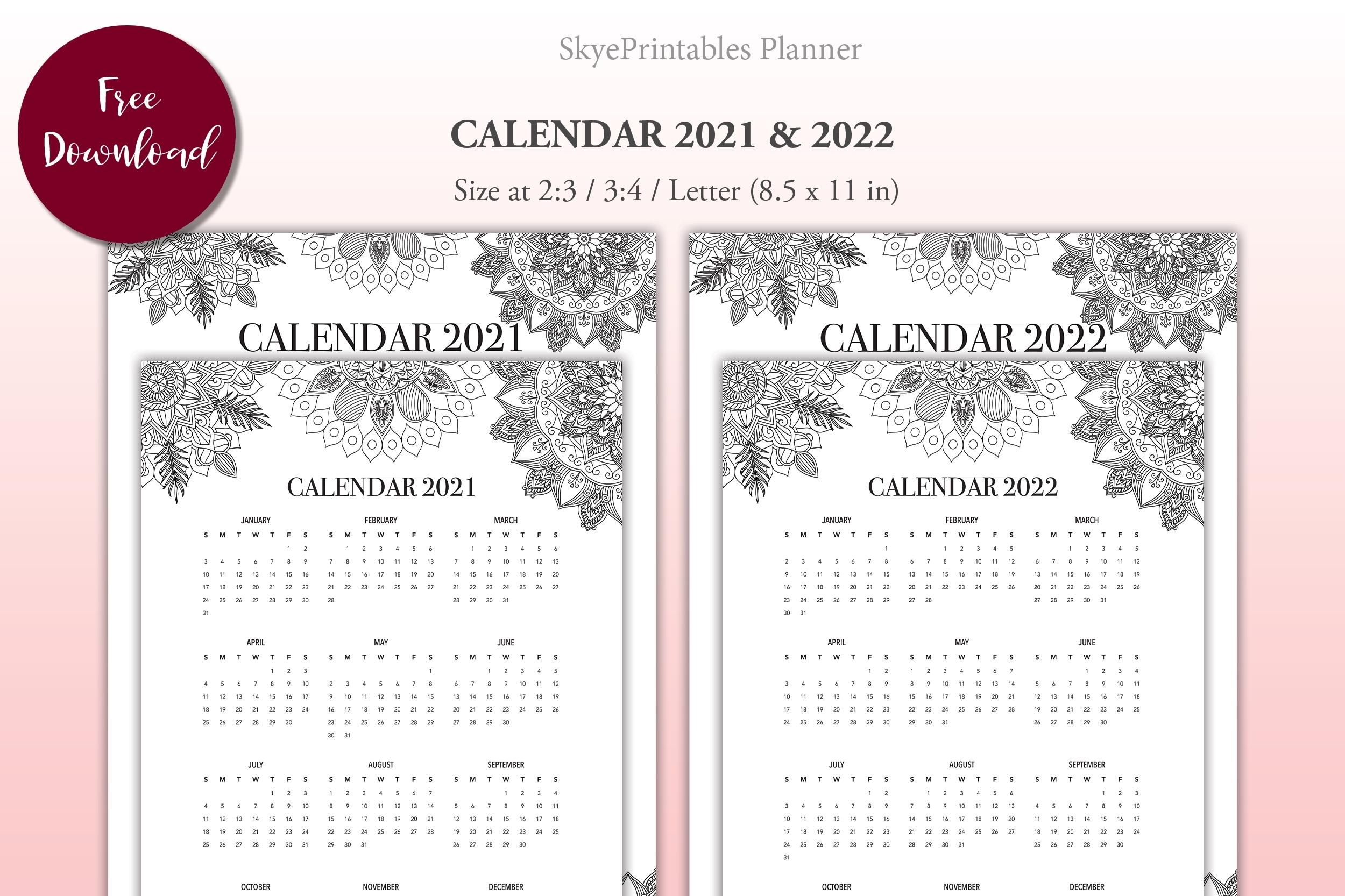 Free Mandala Calendar 2021 & 2022