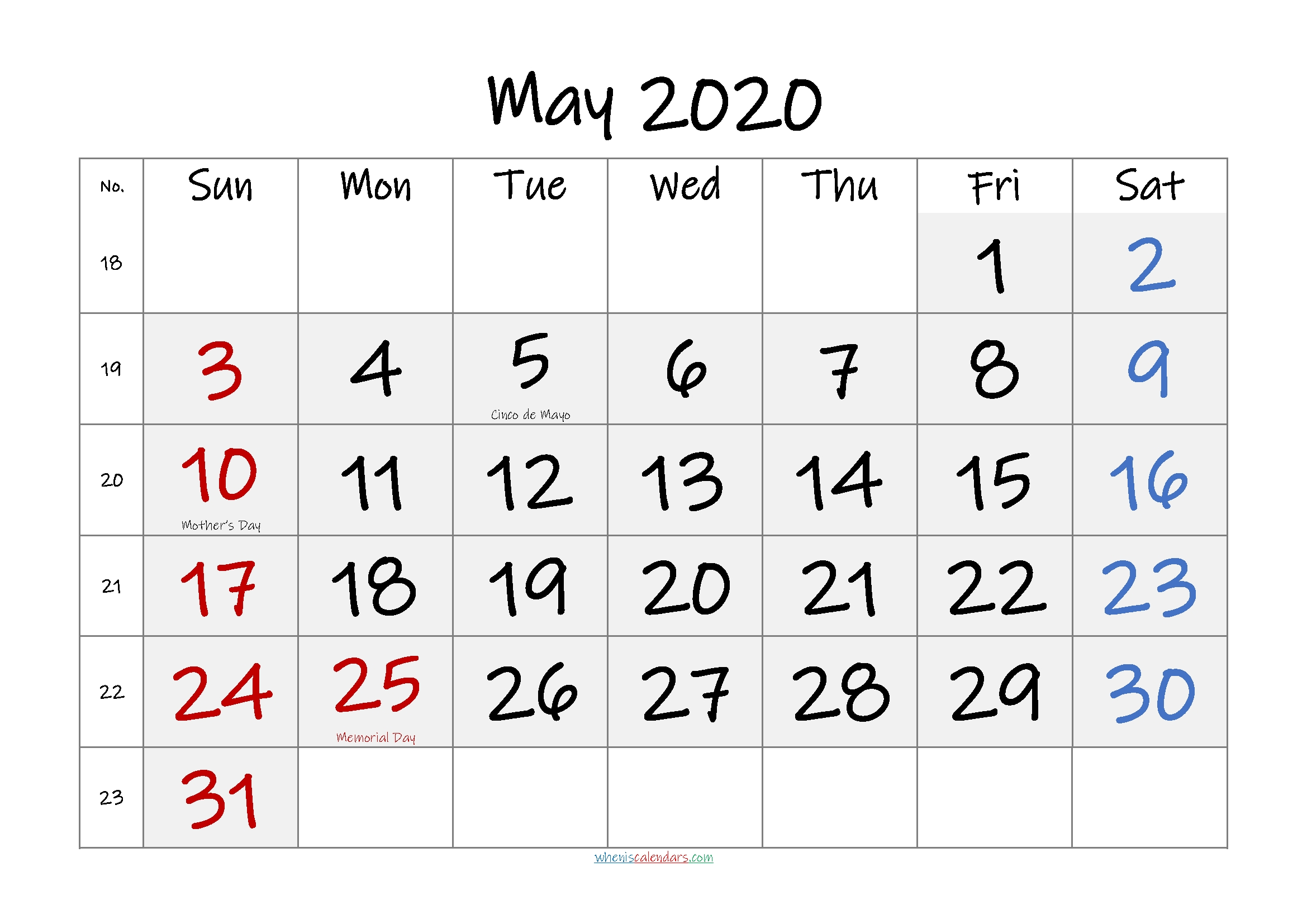 Free May 2020 Monthly Calendar Pdf-Template No.if20M53