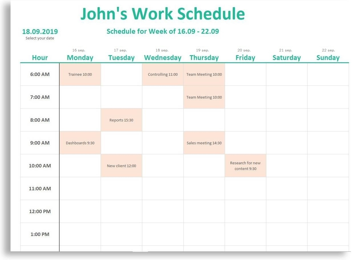 Free *New* Weekly & Daily Schedule - For Work, School And